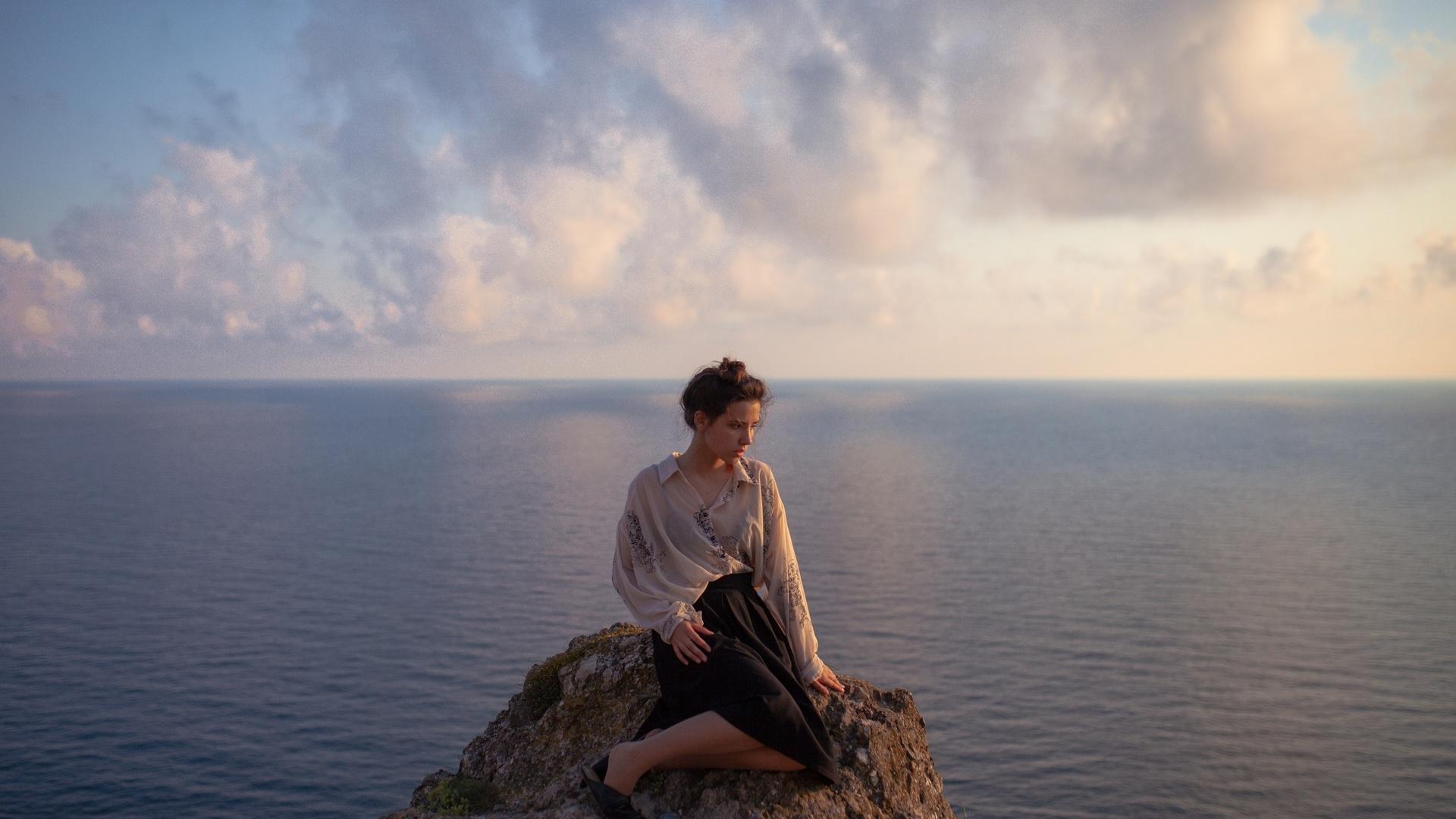 девушка, высота, владлен тарасенко, море, небо