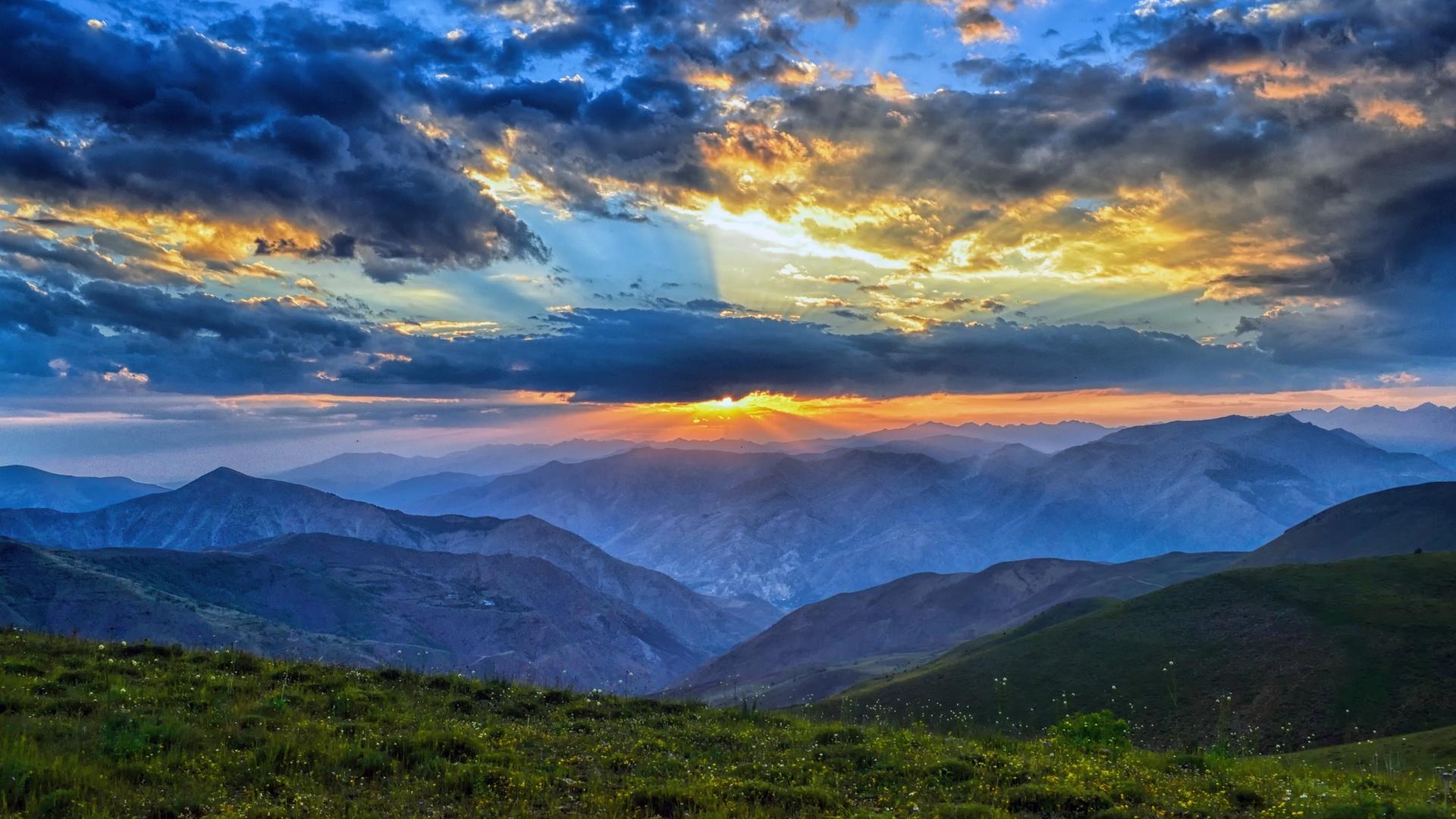 лучи света, природа, облака