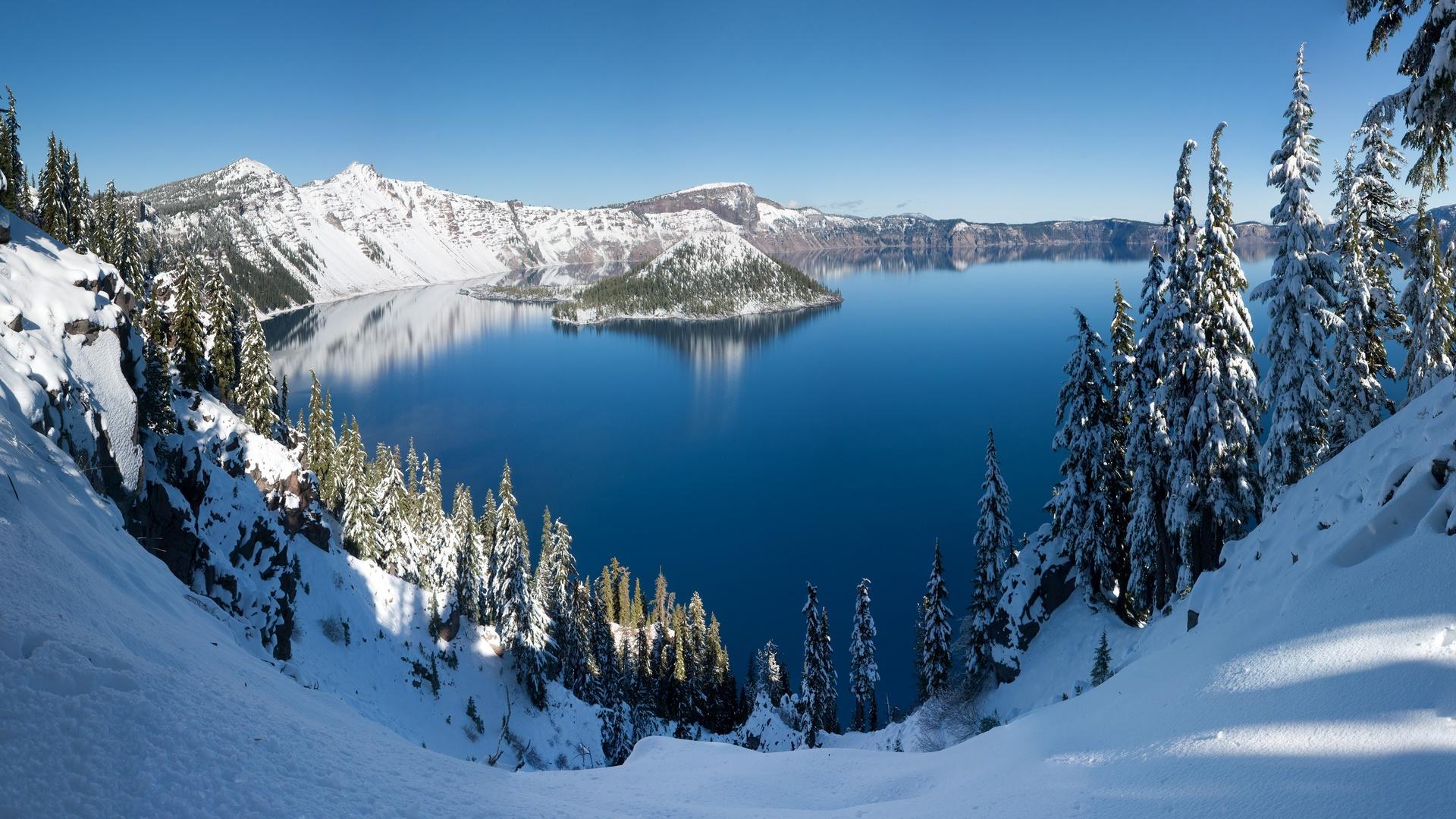 крайтер, орегон, кратерное озеро, снег, зима, деревья, остров