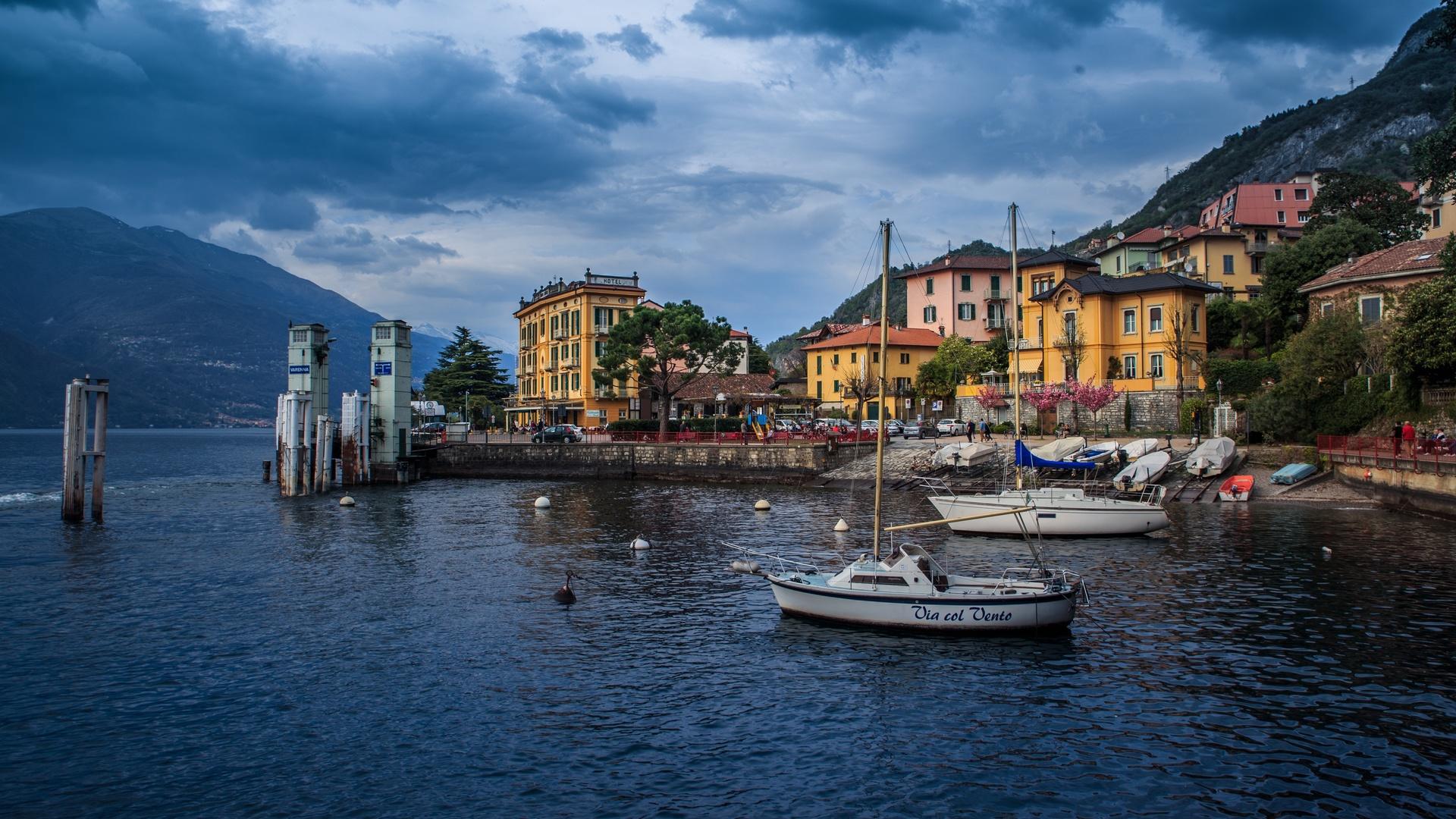 италия, море, дома, лодки, горы, lombardy, varenna, облака, набережная, природа