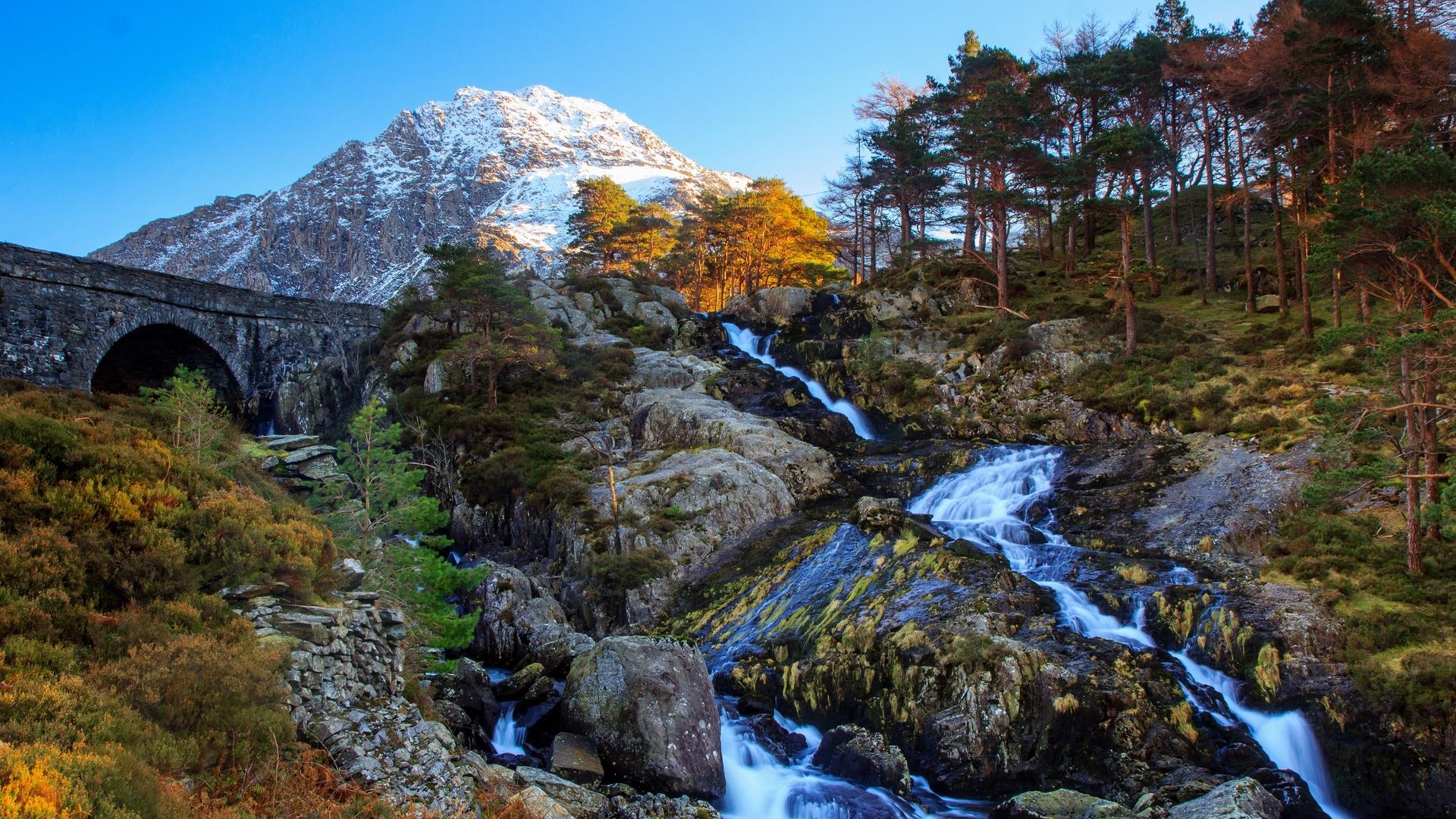 великобритания, горы, камни, мост, tryfan, ogwen, valley, уэльс, деревья, скала, природа