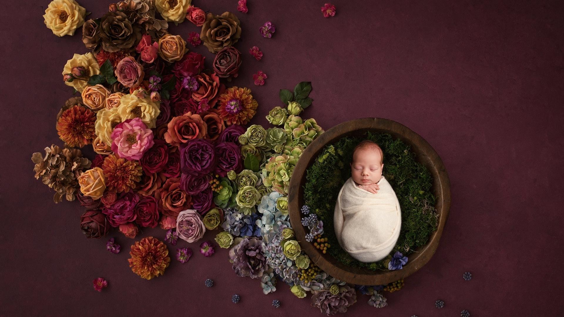 ребёнок, малыш, цветы