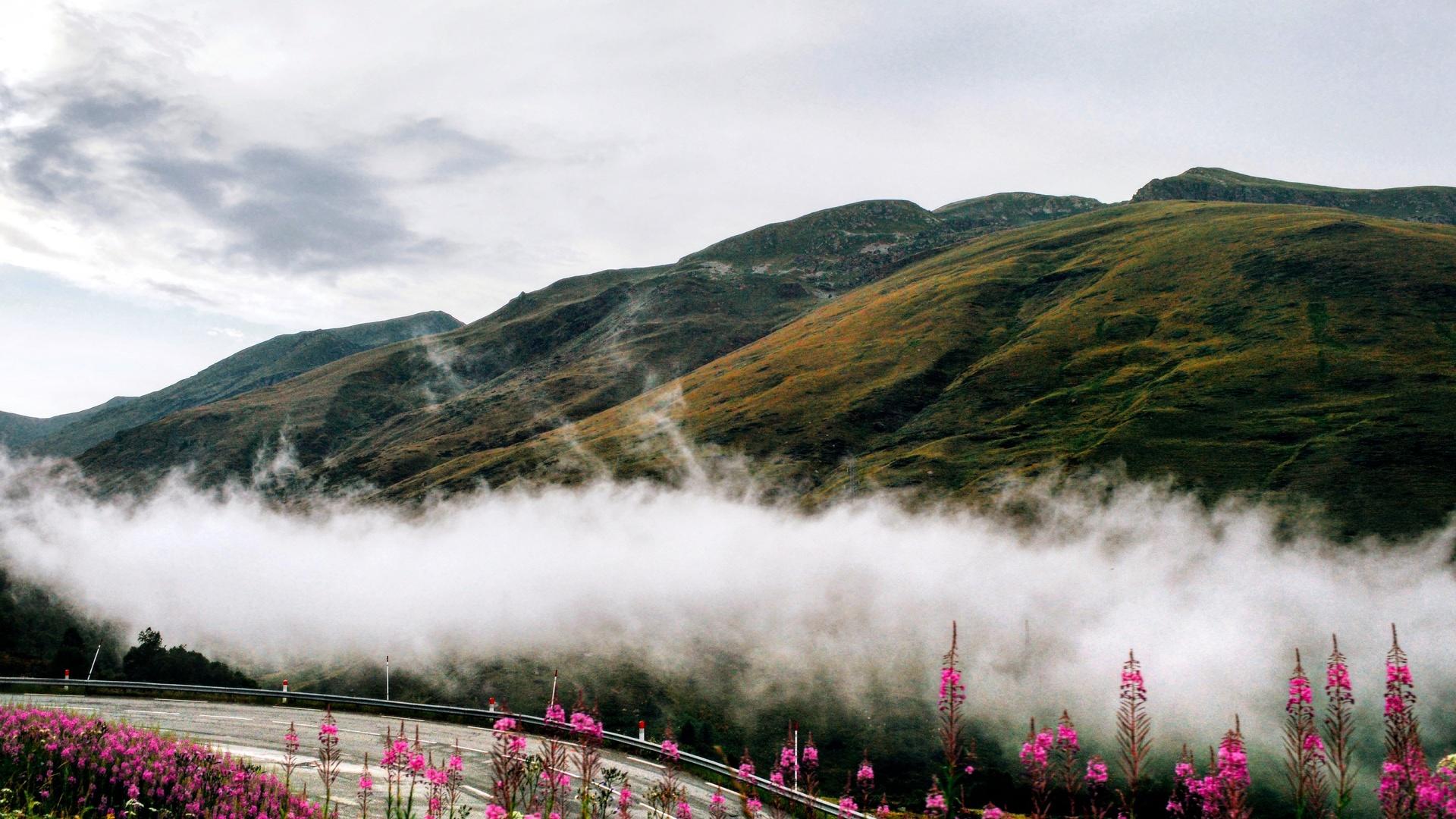горы, туман, дорога, испания