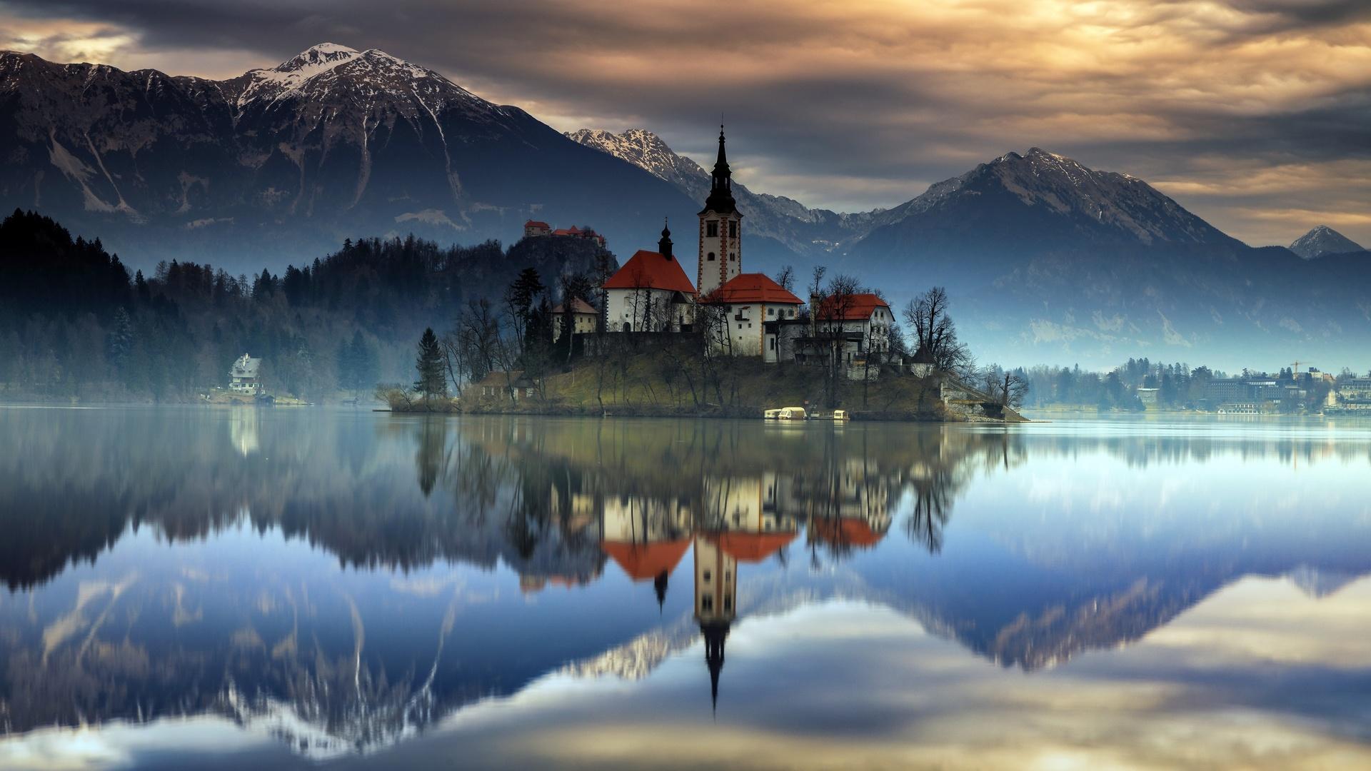 словения, горы, озеро, остров, замок, , lake, bled, upper carniolan, отражение, природа