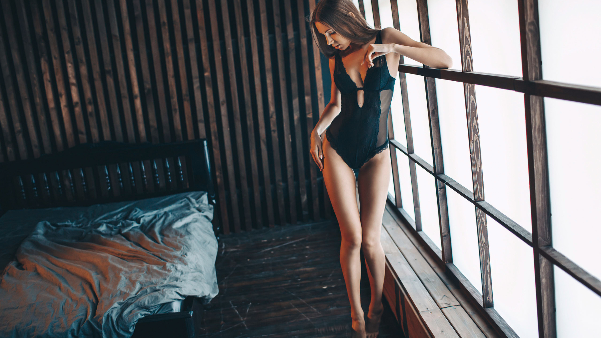 women, alexandr burdov, body lingerie, bed, wooden floor, window, brunette, black lingerie, the gap, straight hair, women indoors
