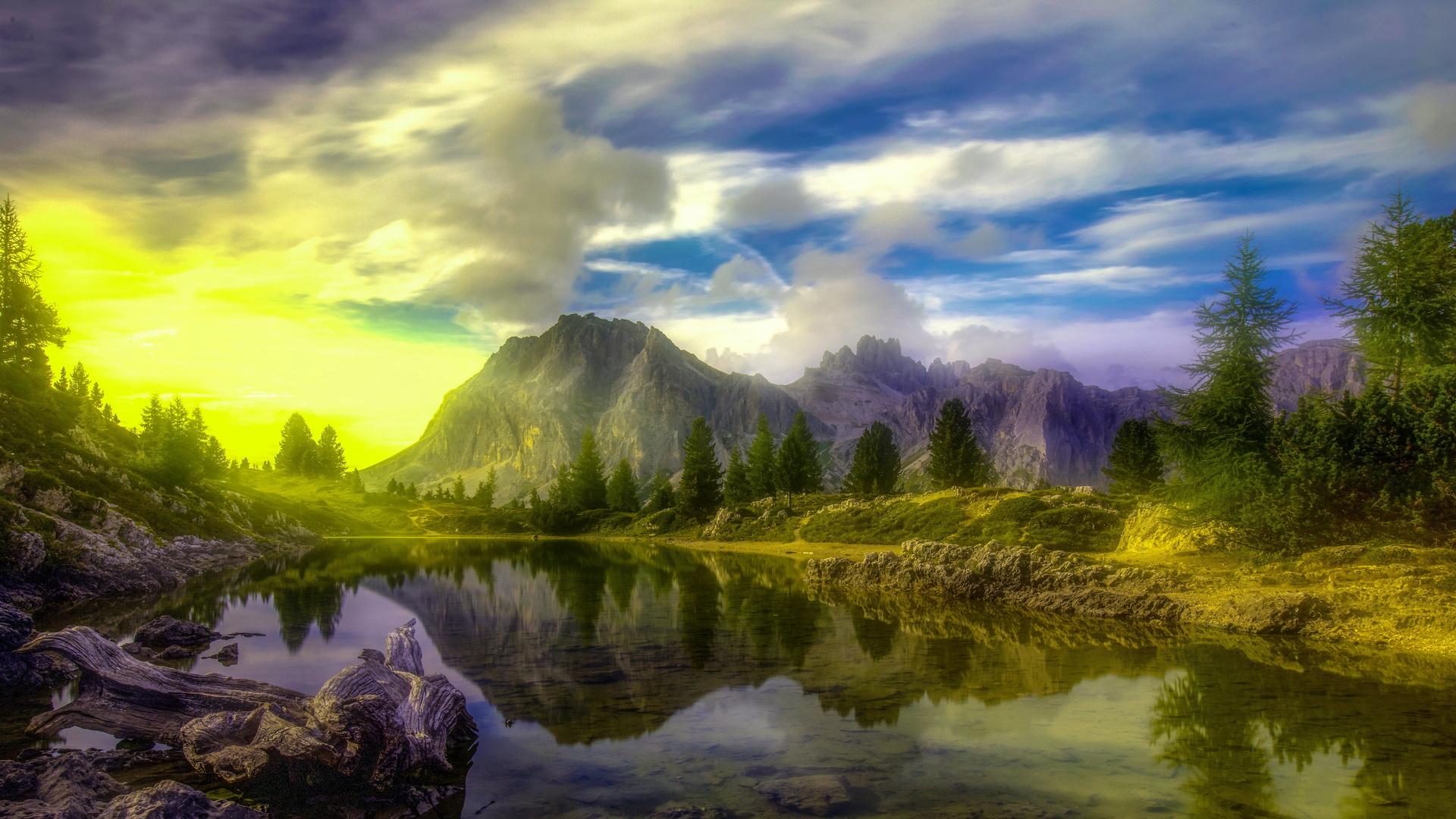 италия, горы, озеро, dolomites, облака, деревья, альпы, hdr, природа