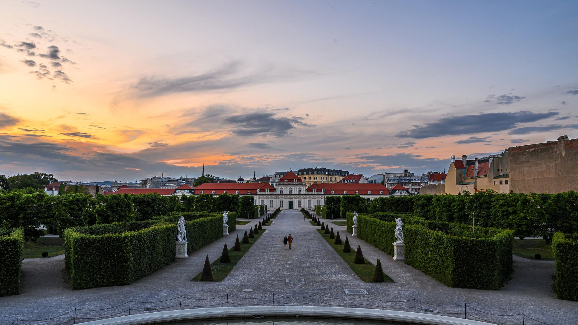 австрия, вена, вечер, ландшафтный дизайн, скульптуры, belvedere, дворец, кусты, город