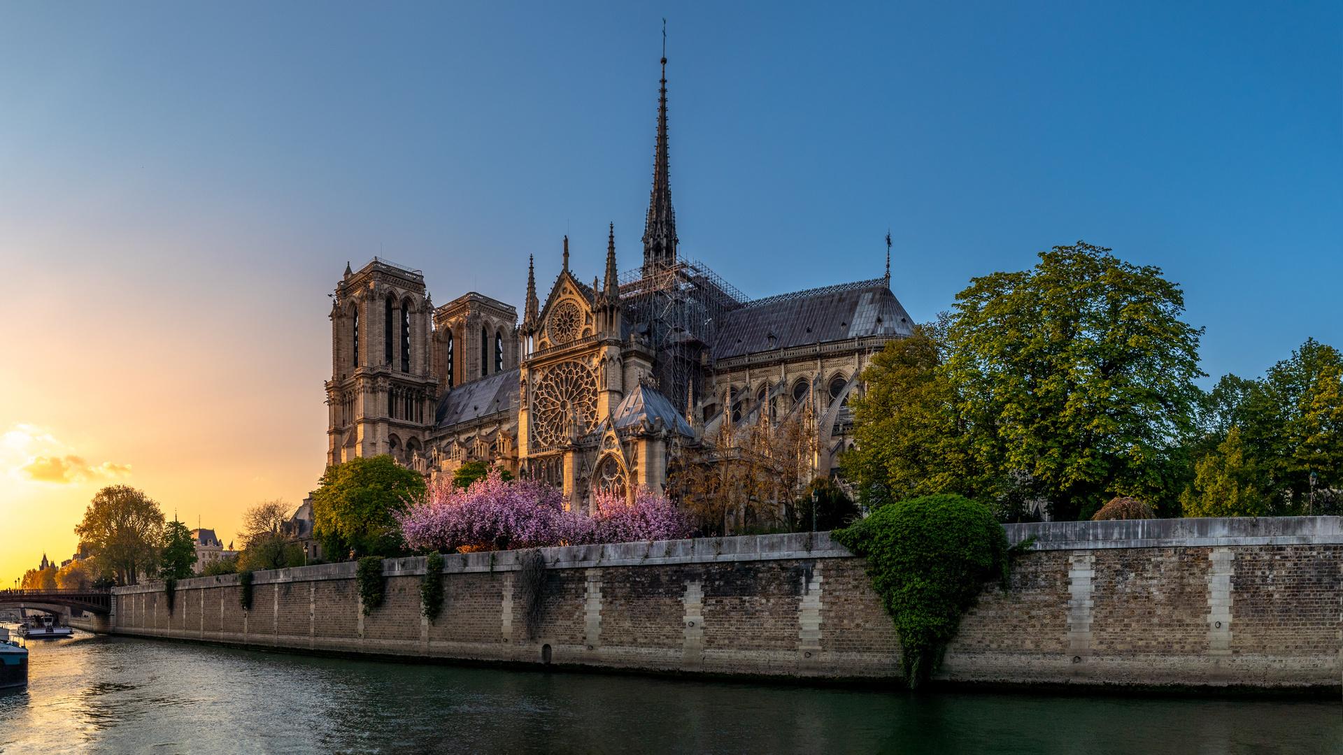 город, река, франция, париж, вечер, сена, собор, храм, архитектура, нотр дам де пари