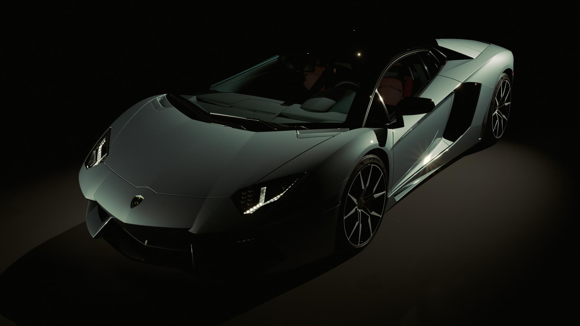 lamborghini, aventador, авто,суперкар,серый,тёмный фон