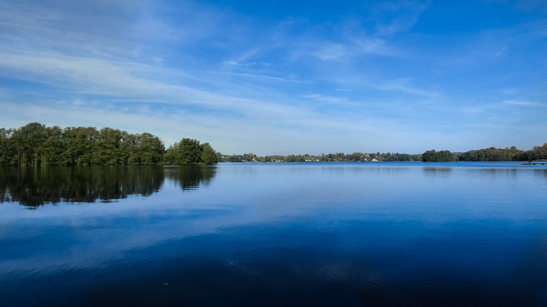 небо, озеро, деревья, лето