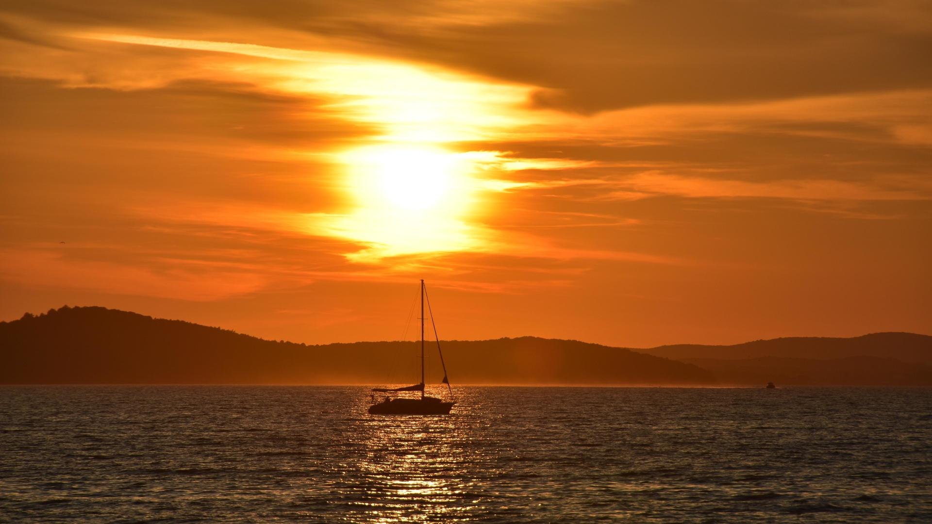 парусник, лодка, море, закат