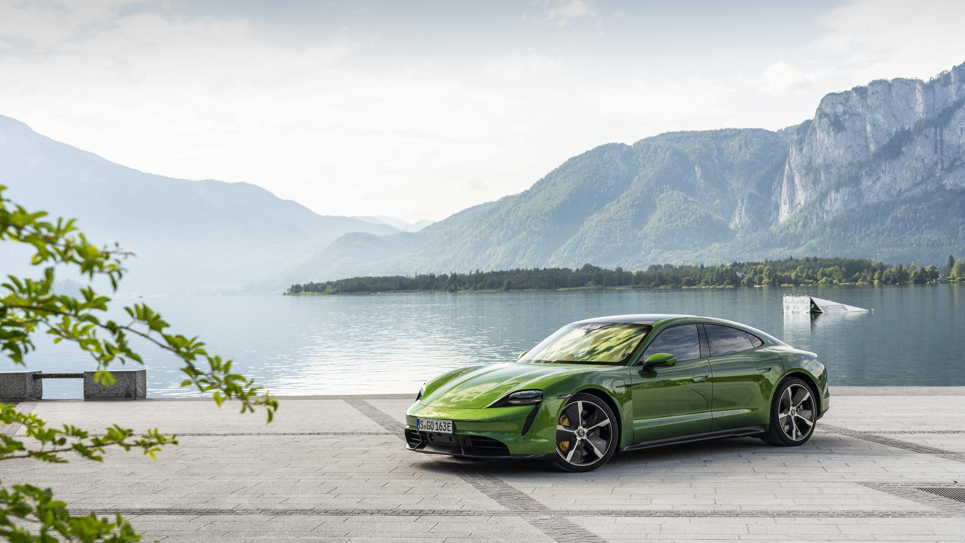порше, зеленый, суперкар,вид сбоку,природа,фон,красиво