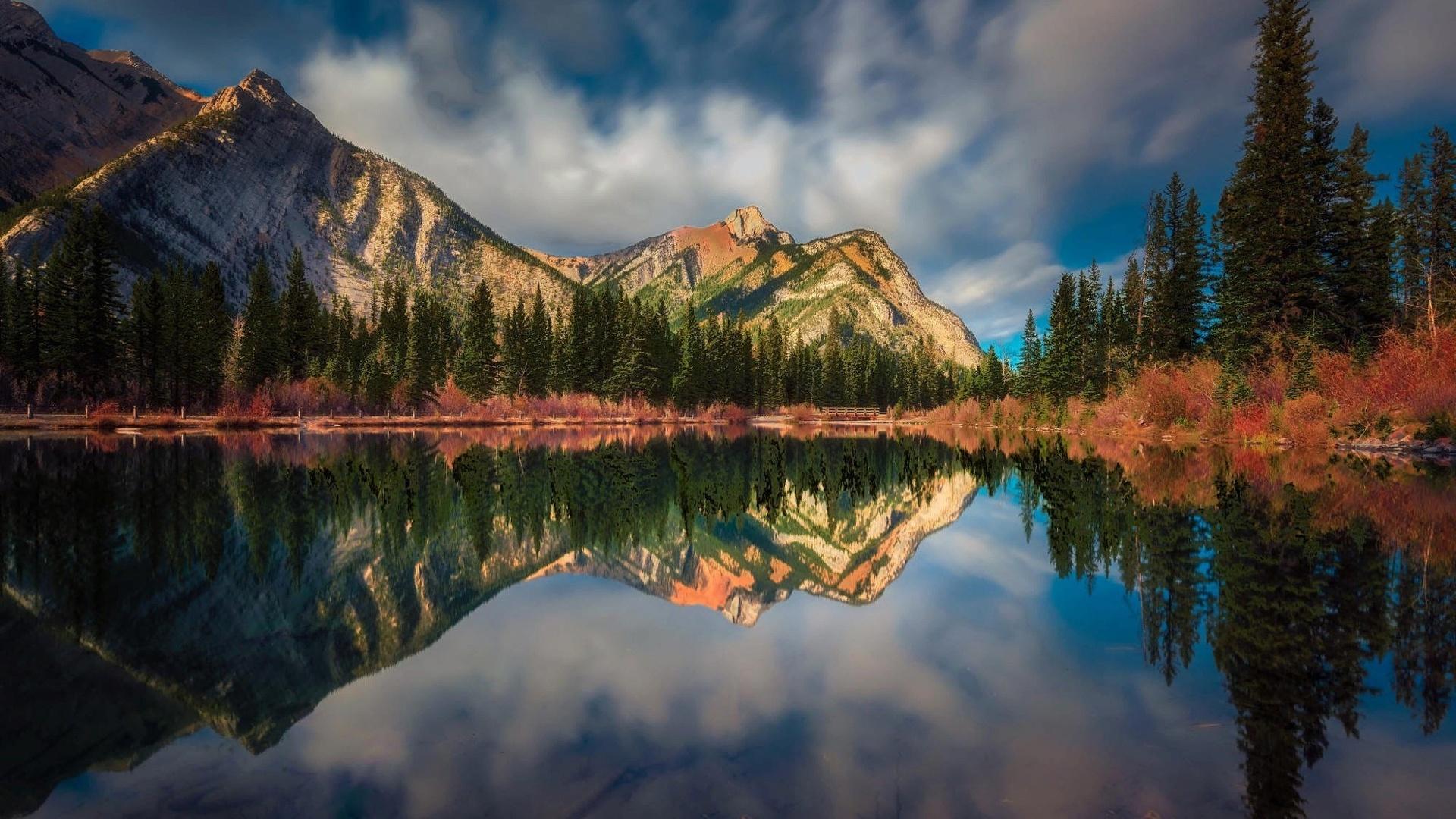 озеро, лес, горы, отражение