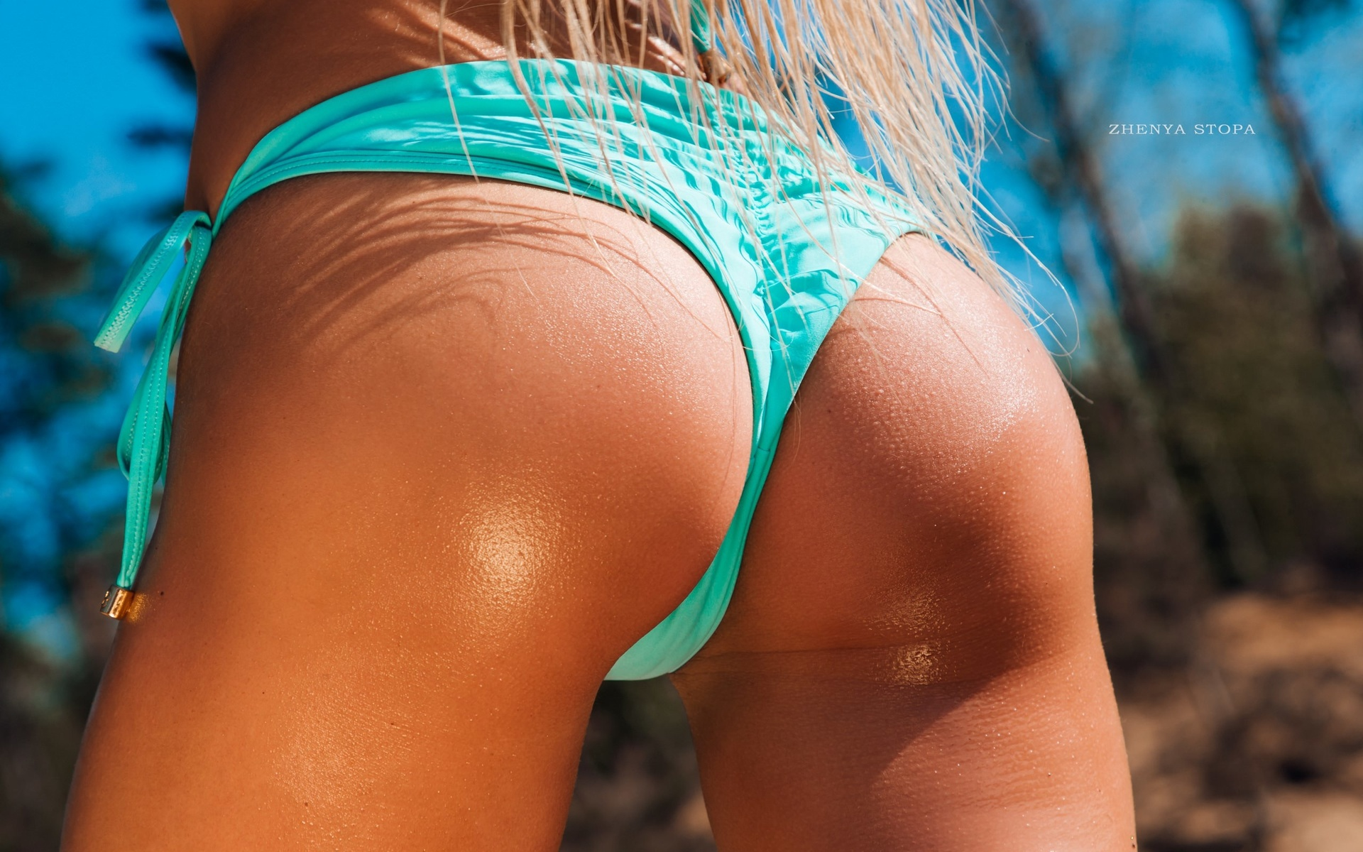 women, zhenya stopa, ass, blonde, long hair, bikini, trees, women outdoors, brunette, body oil, oiled body