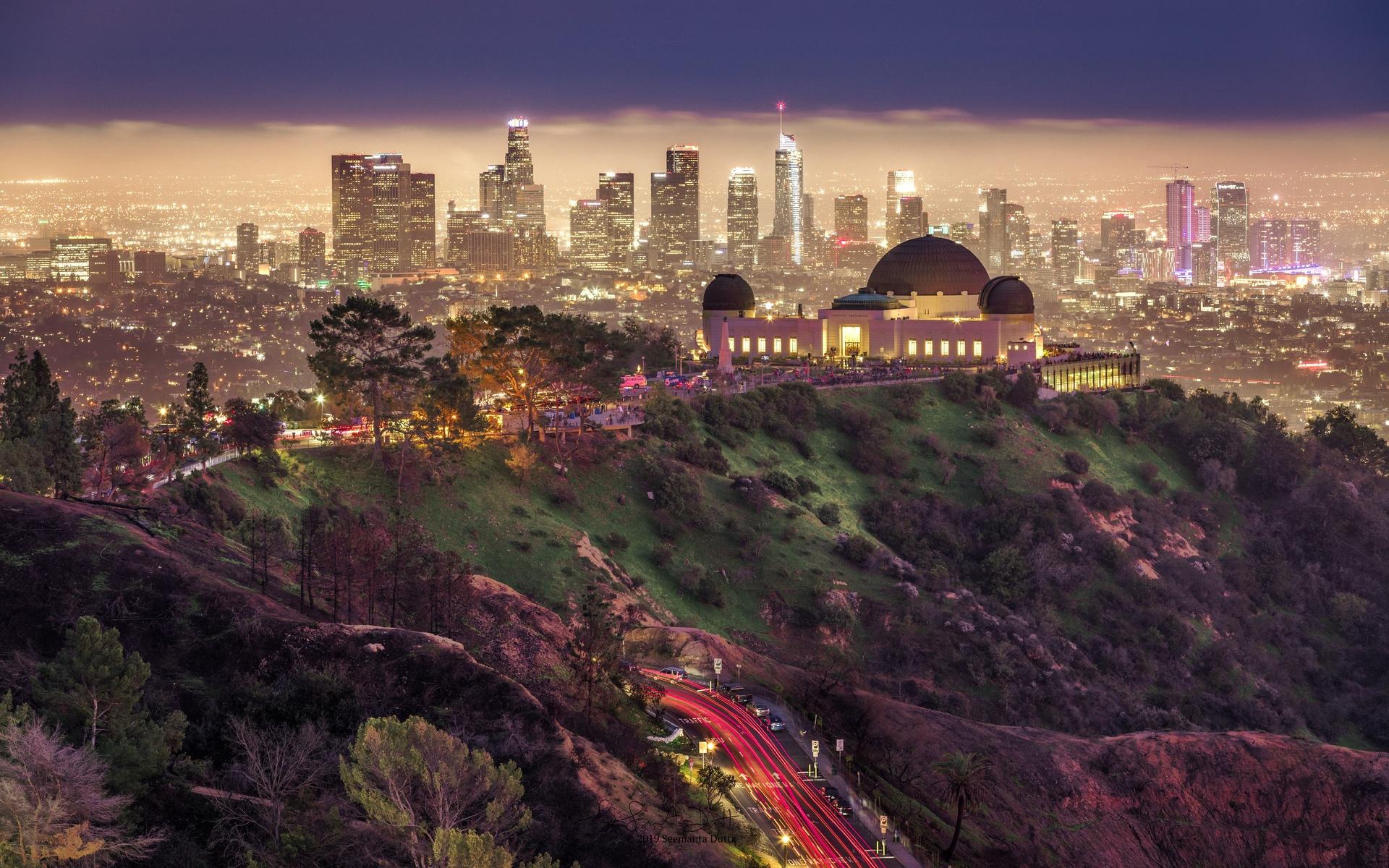 дорога, ночь, город, парк, здания, дома, освещение, сша, лос-анджелес, griffith park, гриффит парк