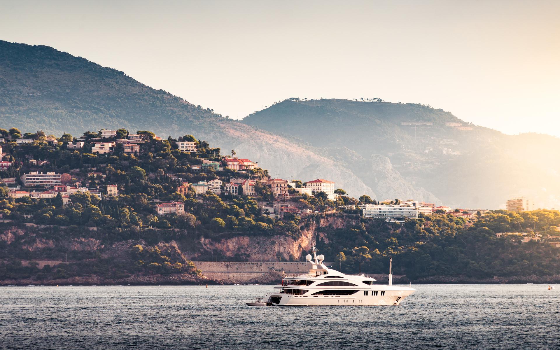 побережье, монте-карло, монако, море, Яхта, город