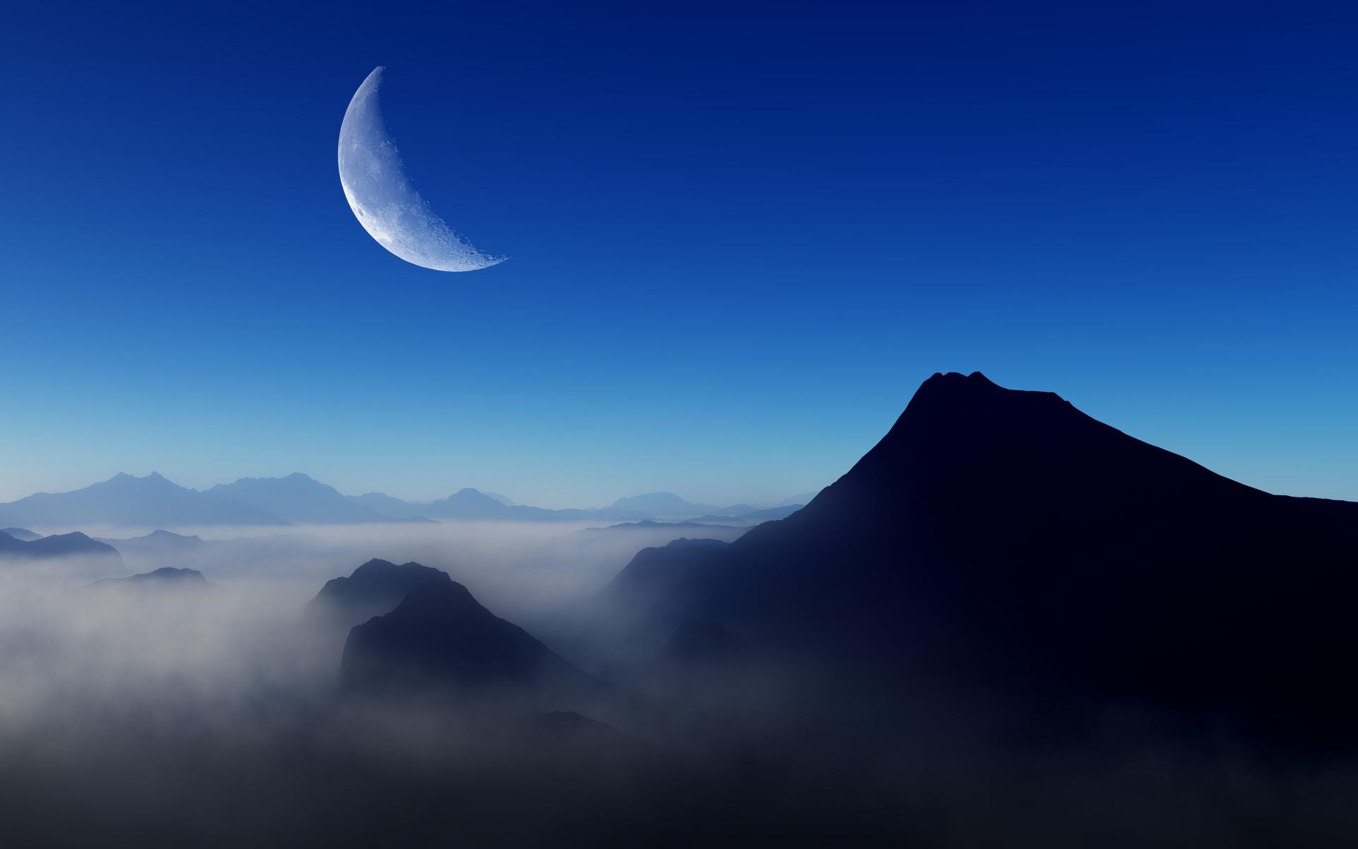 blue, morning, moon, nature