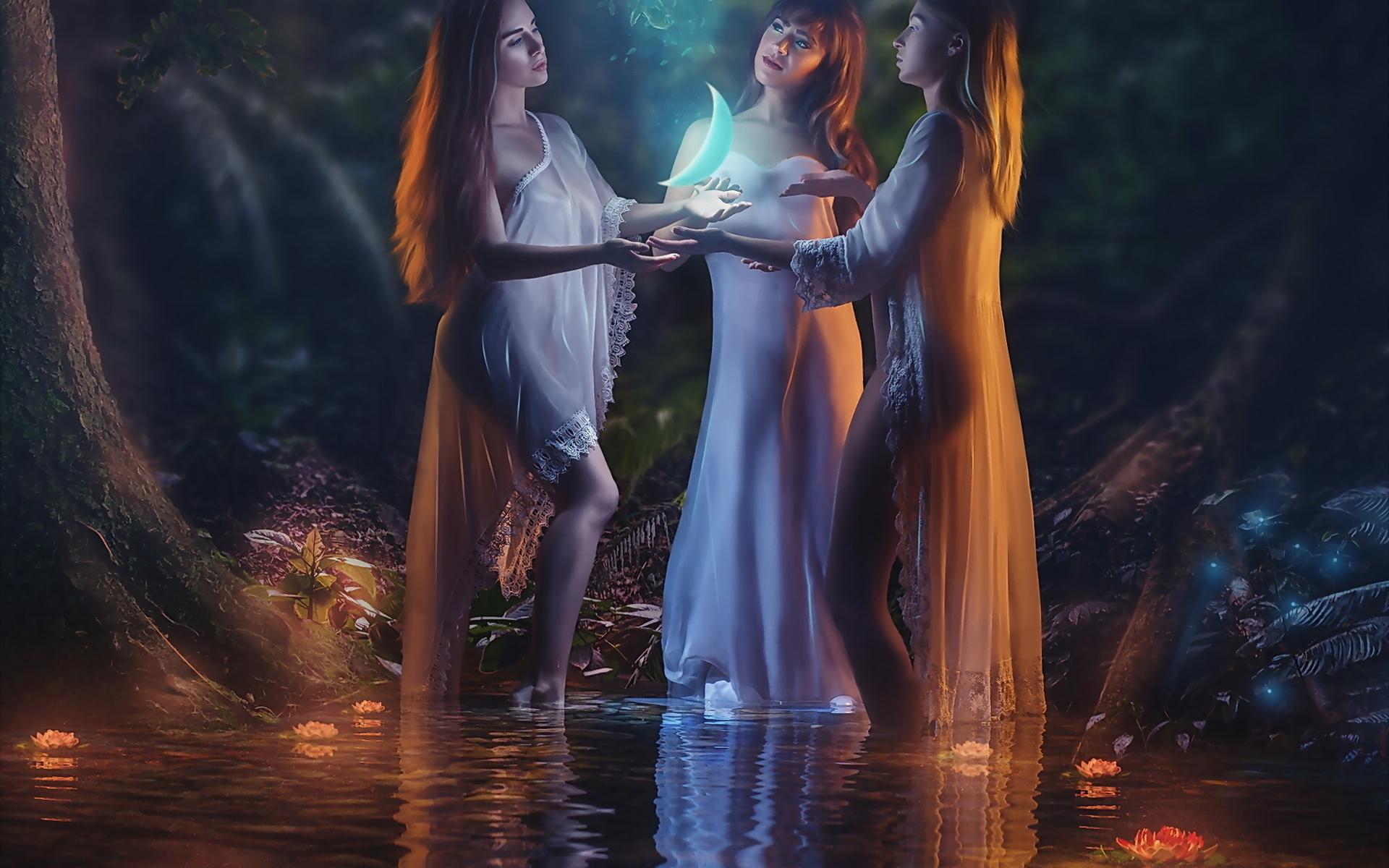 девушки, таинство, вода, волшебство