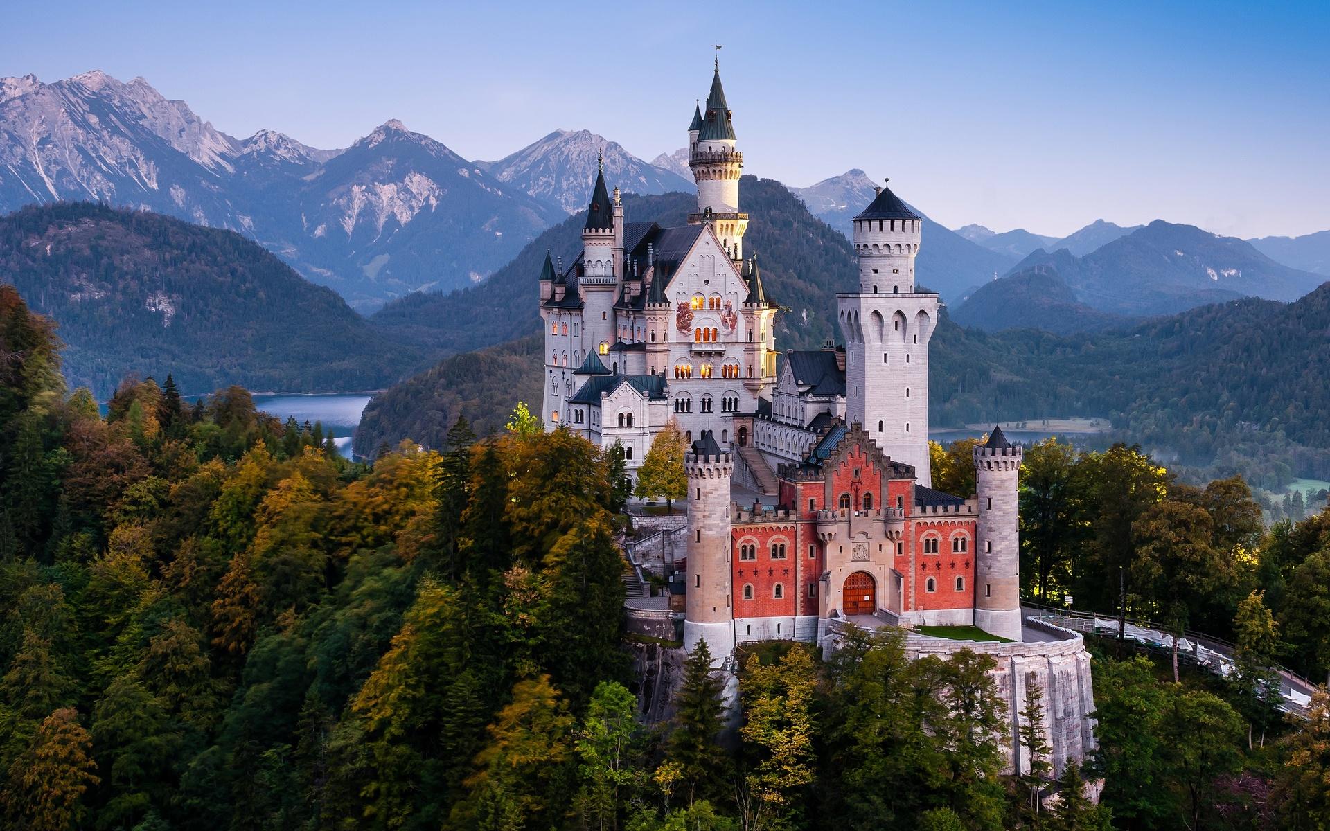 германия, замок, горы, нойшванштайн, бавария, деревья, альпы, башня, природа
