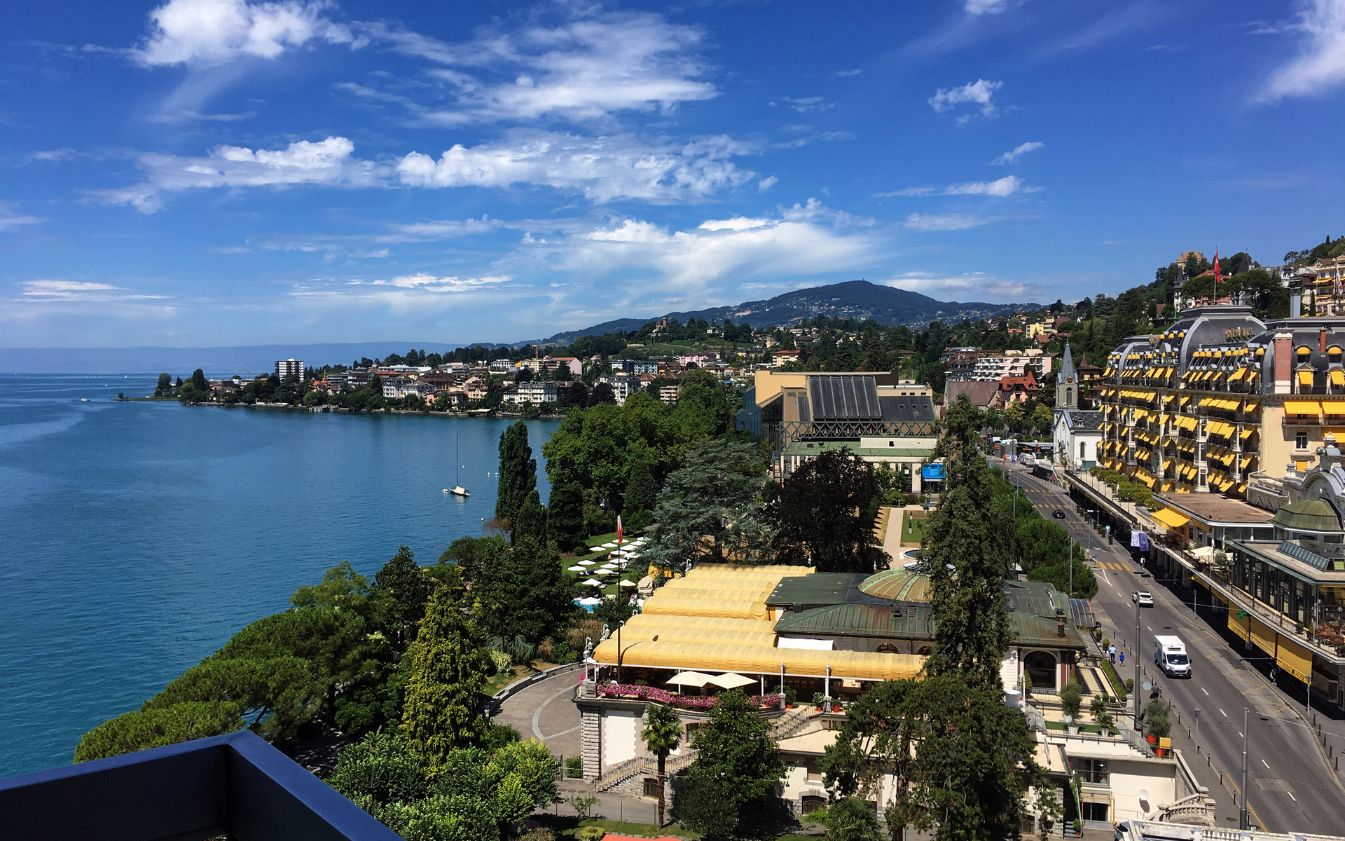 швейцария, дома, побережье, montreux, улица, город