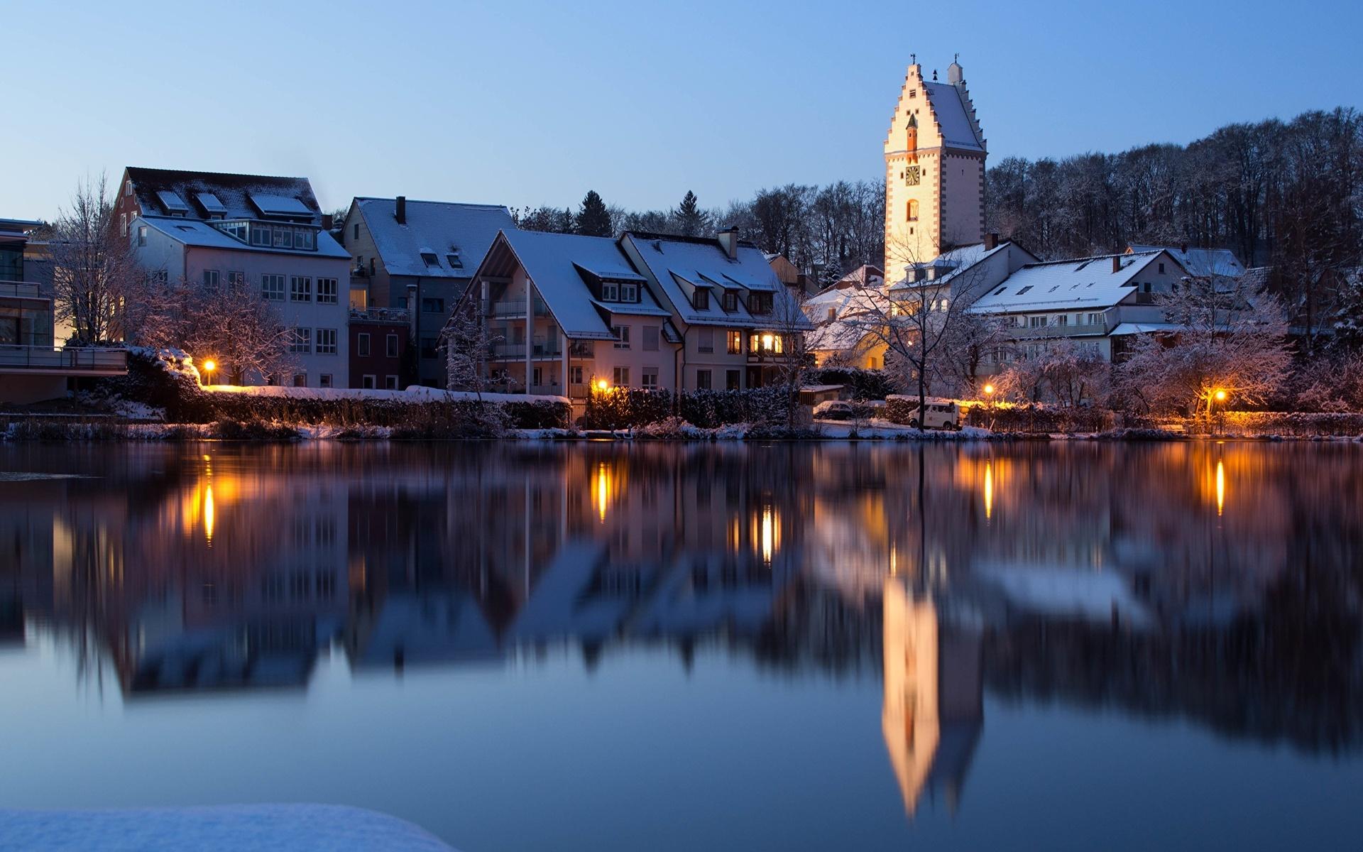 германия, дома, озеро, вечер, bad waldsee, отражение, башня, город