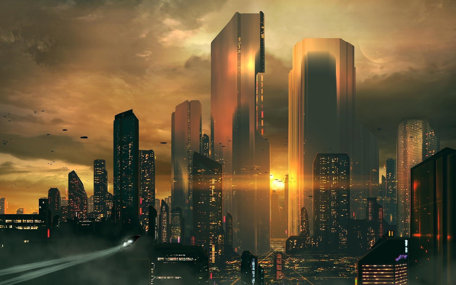futuristic cityscape, skyscrapers, sunset