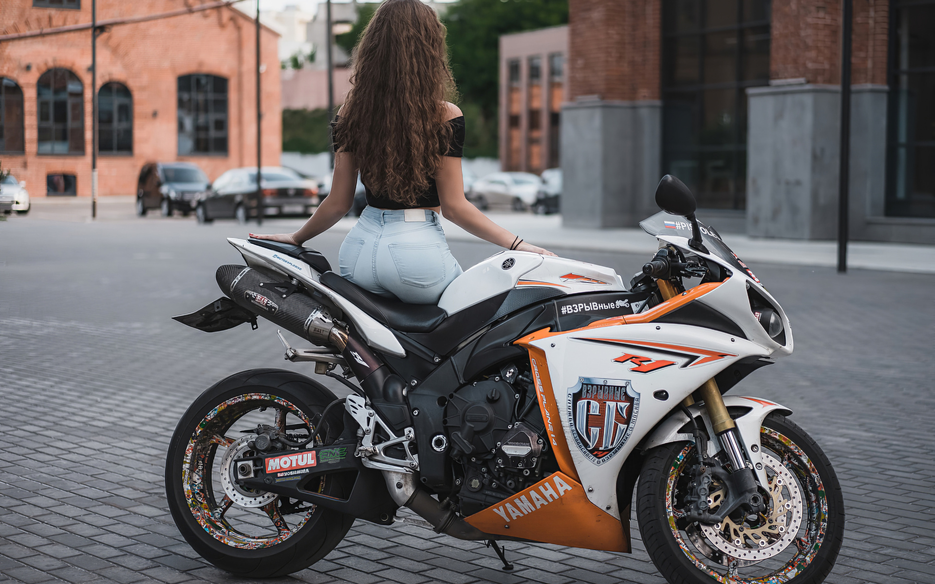 motorcycle, girl, yamaha, r1, road, city, street, brunette, jeans, brown hair, sexy