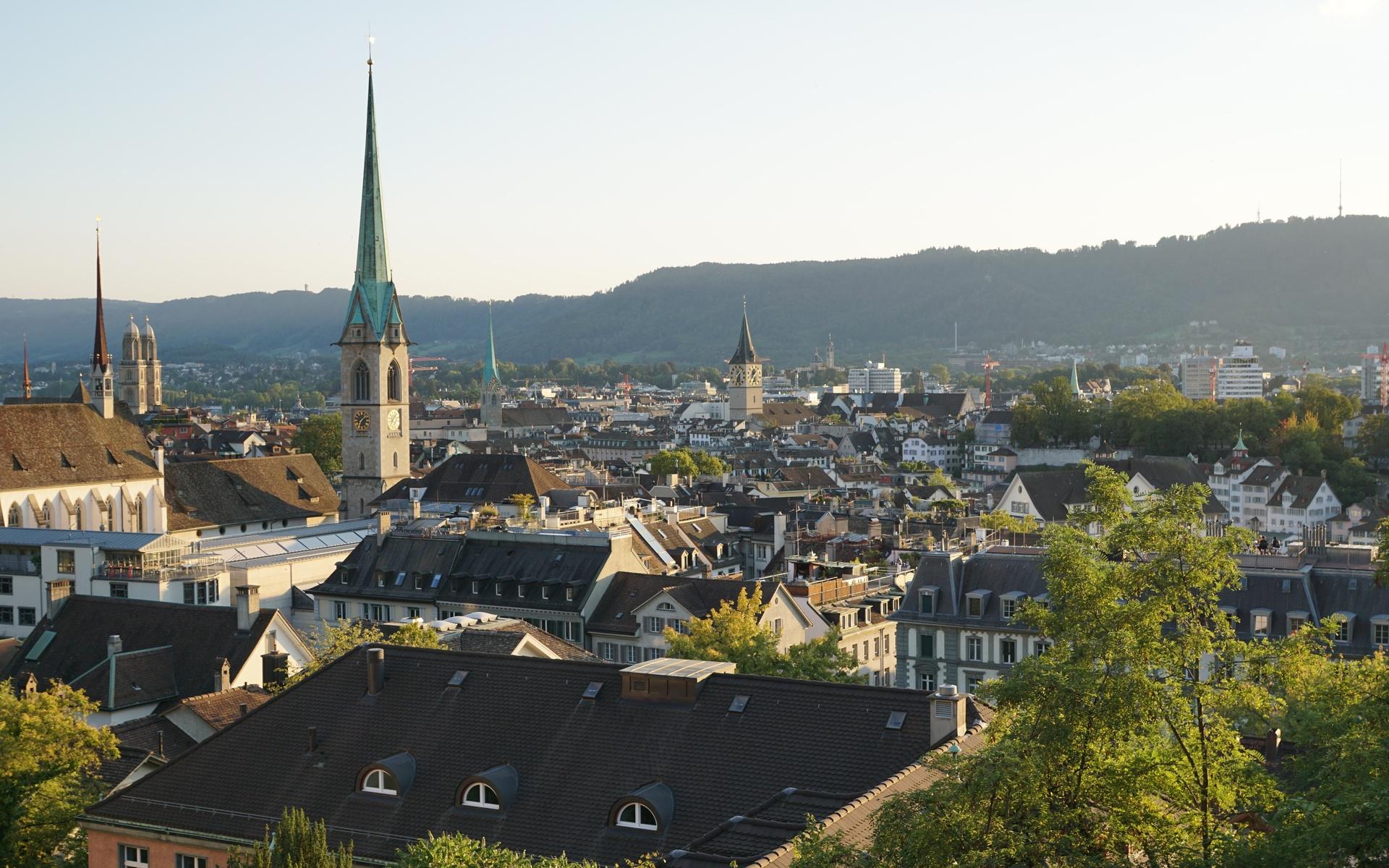 цюрих, швейцария, церковь, дома, крыша, башня, город