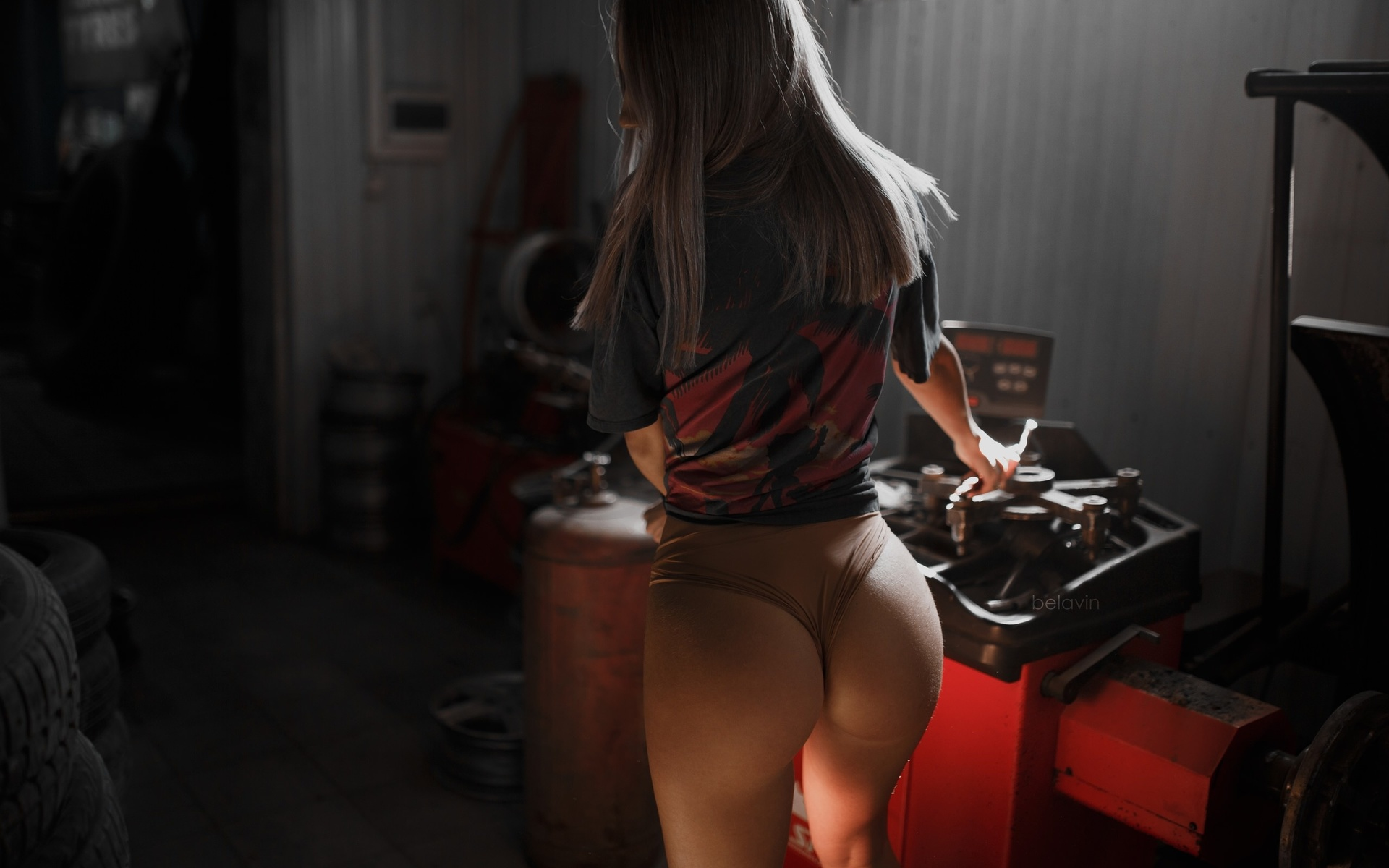 women, alexander belavin, panties, t-shirt, tires, workshop, ass, back, women indoors, brunette