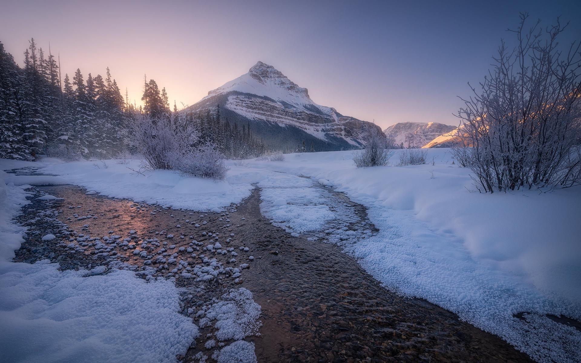 пейзаж, горы, скалы, природа, деревьярека, закат, зима