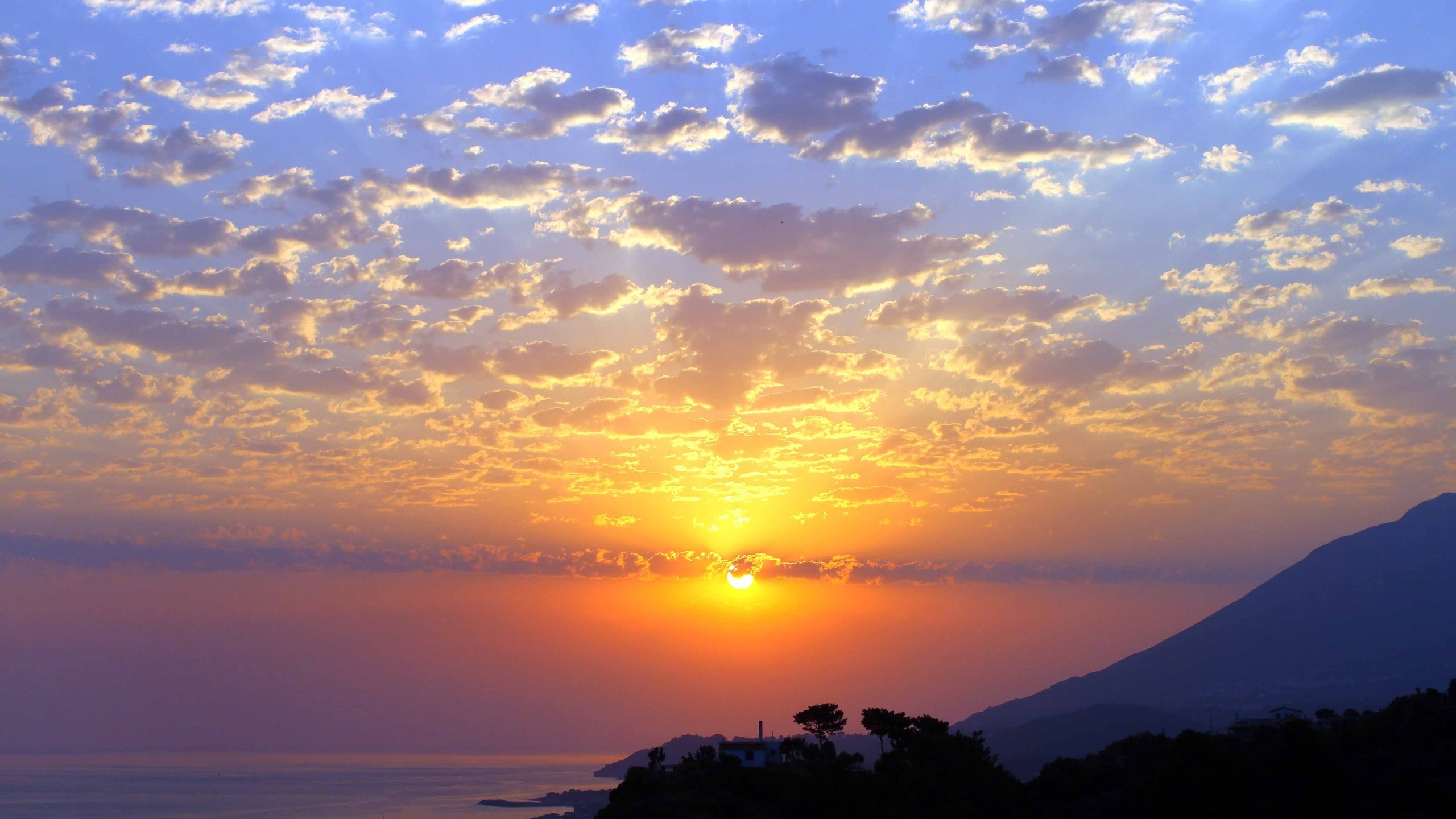 закат, горы, океан, облака