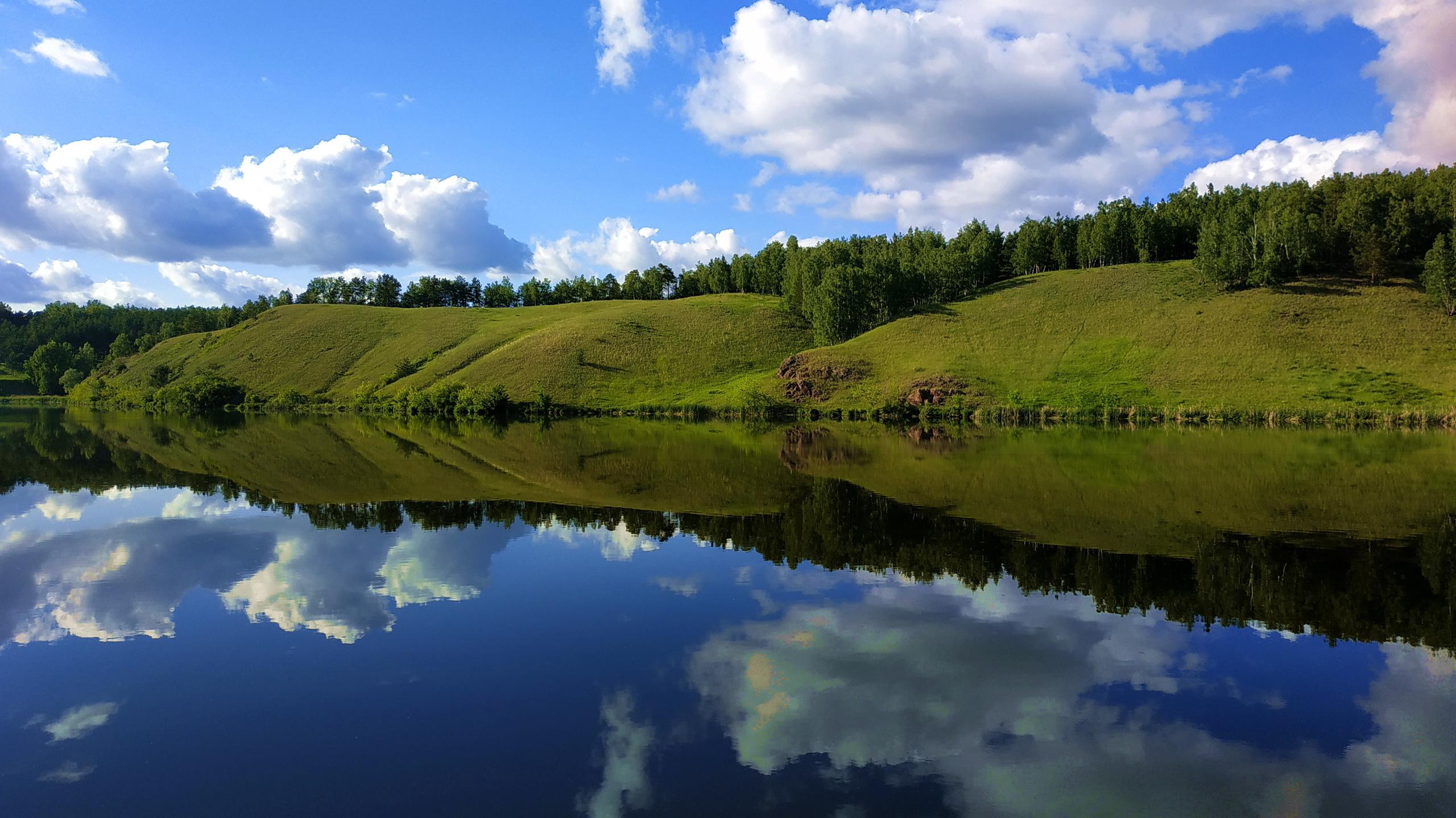 река, отражение, вода, ясно, берег, облака, природа, небо, лето, штиль