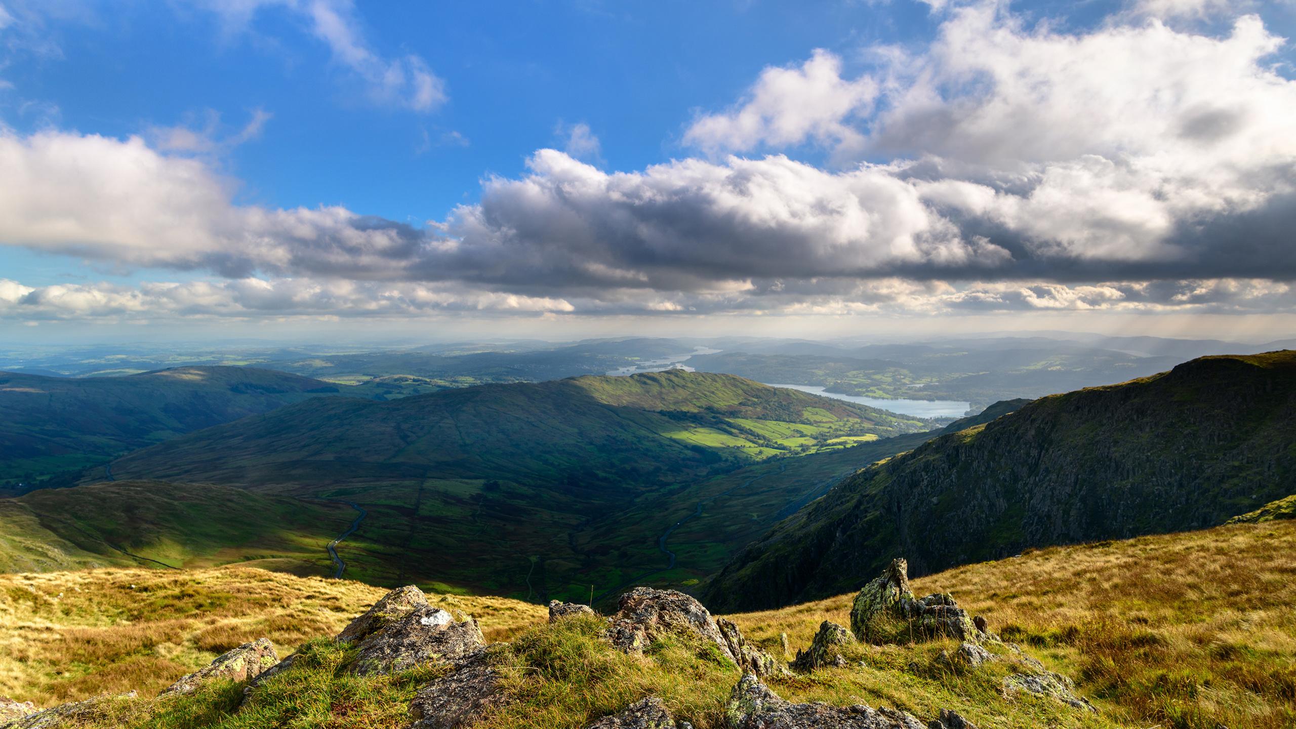 англия, горы, озеро, lake district, cumbria, скала, облака, природа