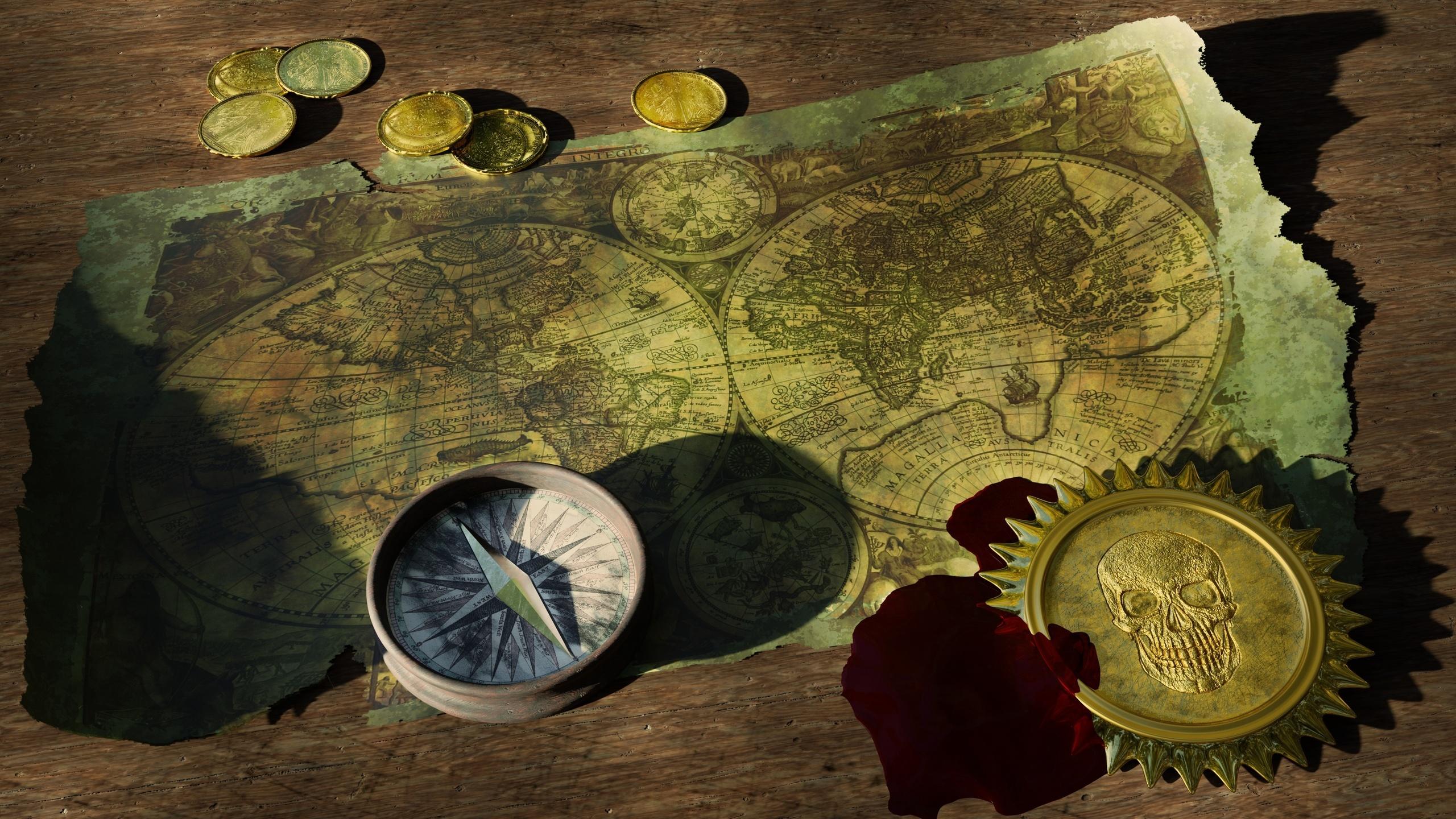деньги, монеты, географическая карта, старый, компас