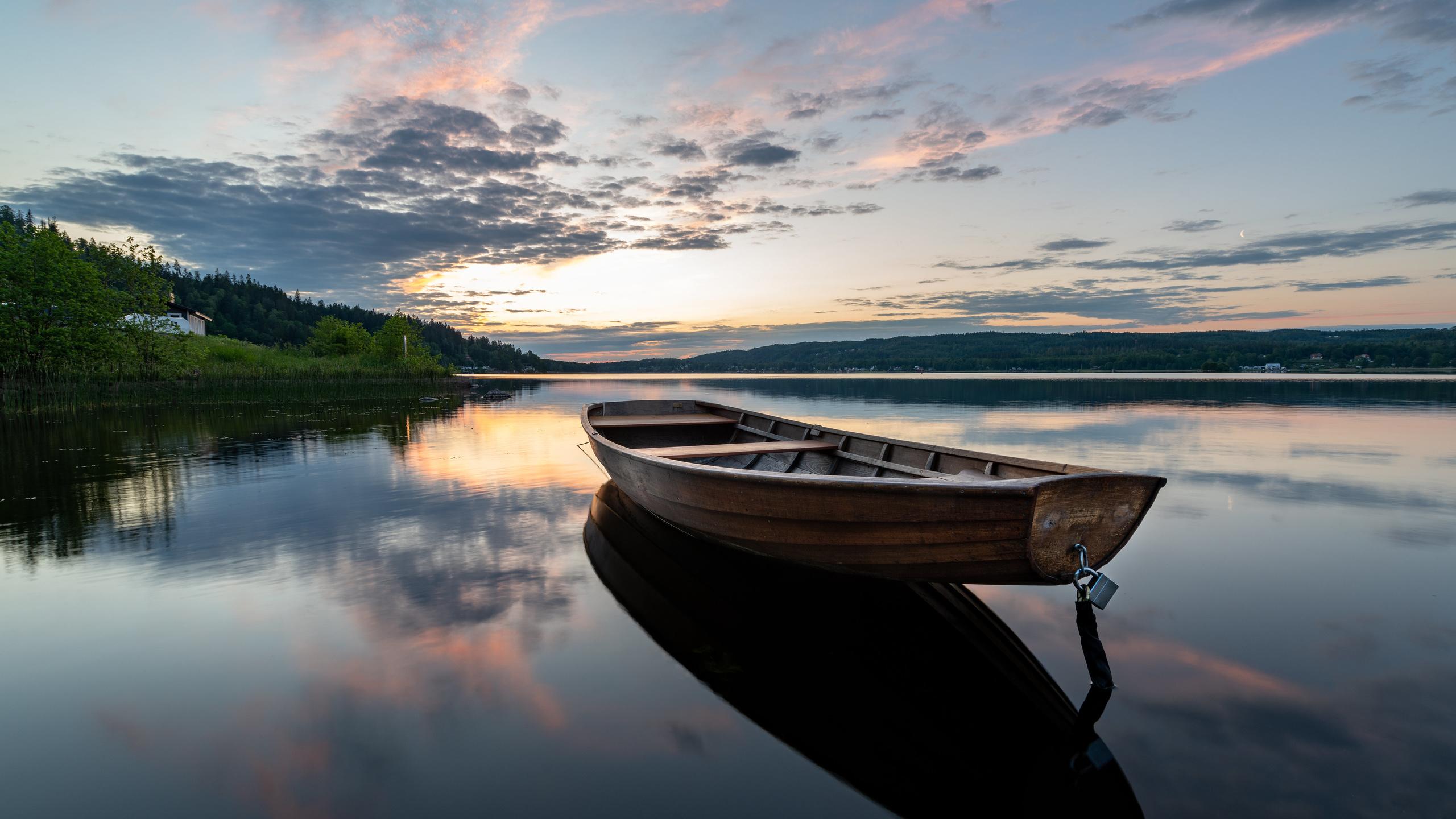 швеция, озеро, утро, лодка