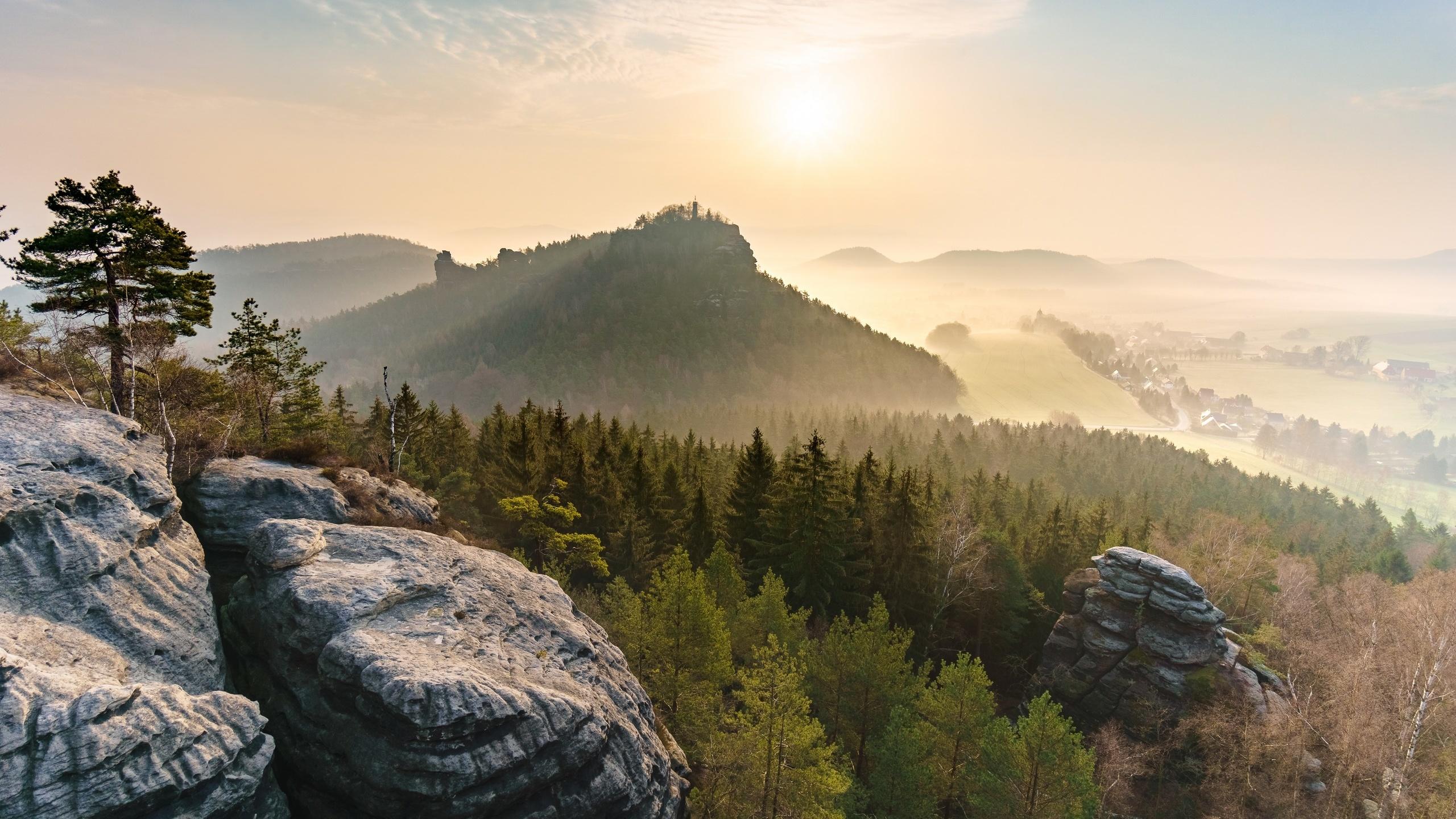 германия, парк, saxon, switzerland, national park, скала, туман, природа