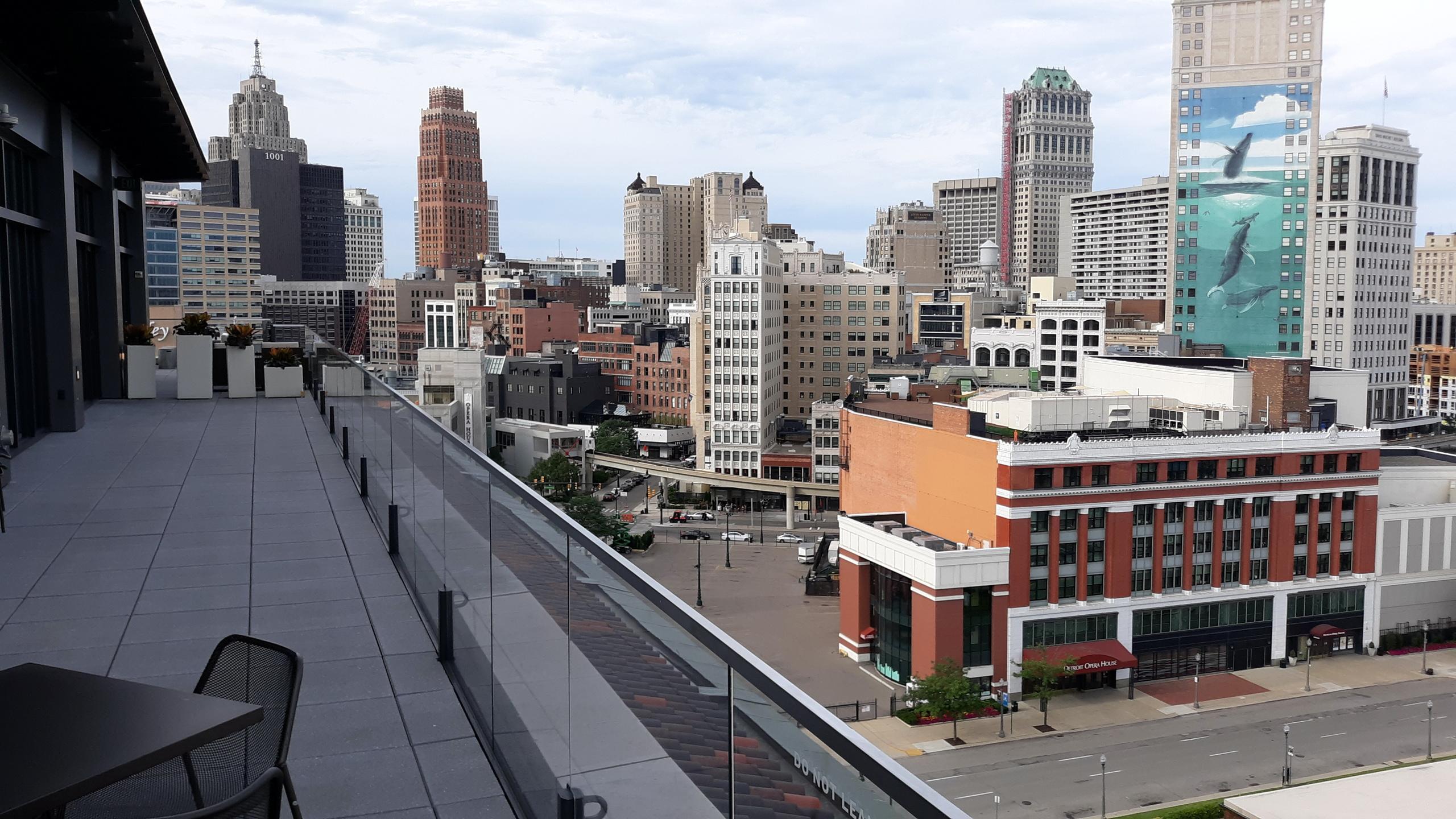 детройт, город, панорама