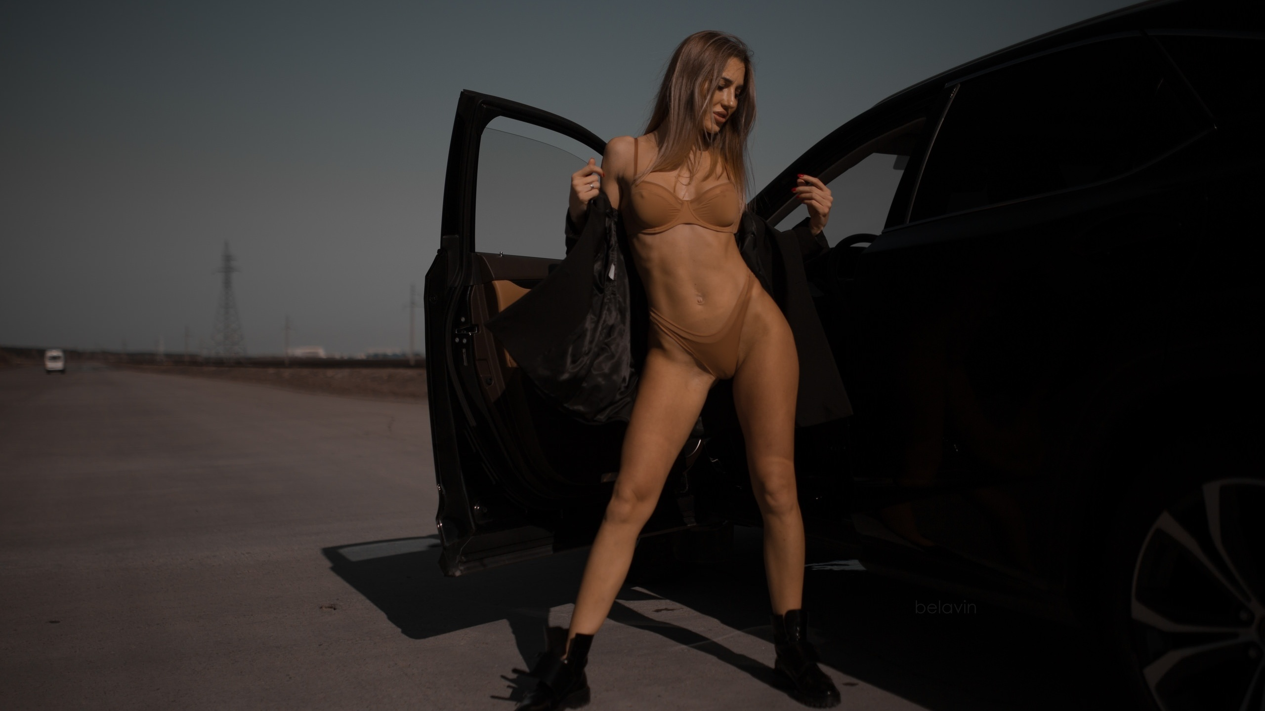 women, alexander belavin, brunette, shoes, lingerie, belly, women outdoors, car, women with cars, ribs, red nails, coats