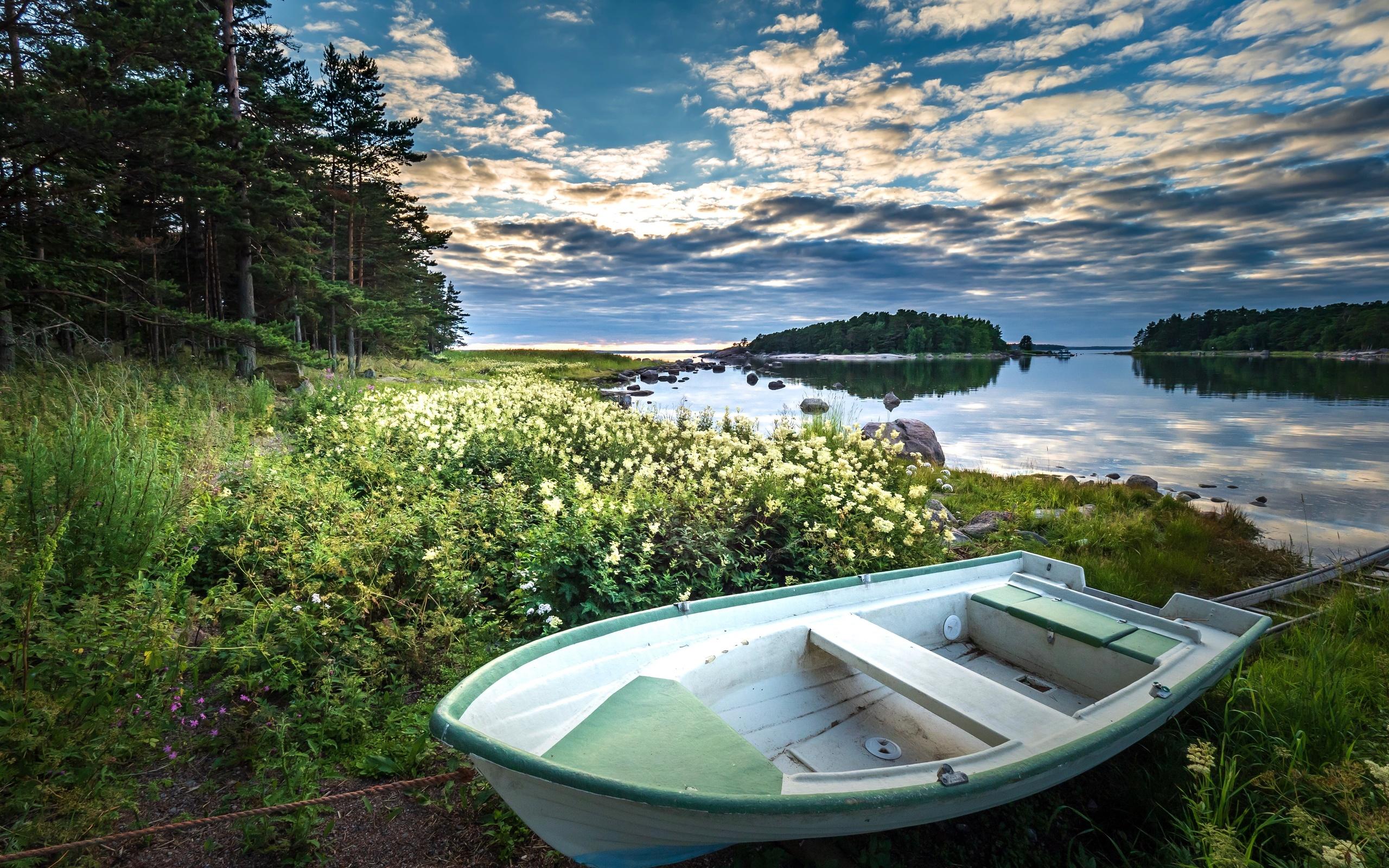 вода, деревья, пейзаж, природа, берег, лодка, травы, финляндия