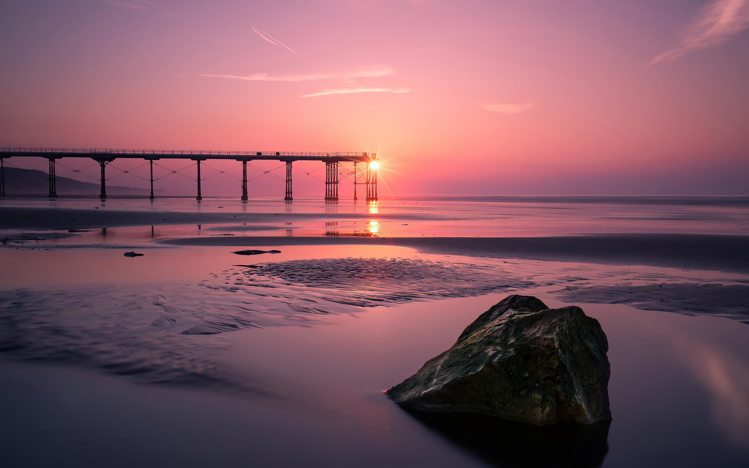 закат, берег, пляж