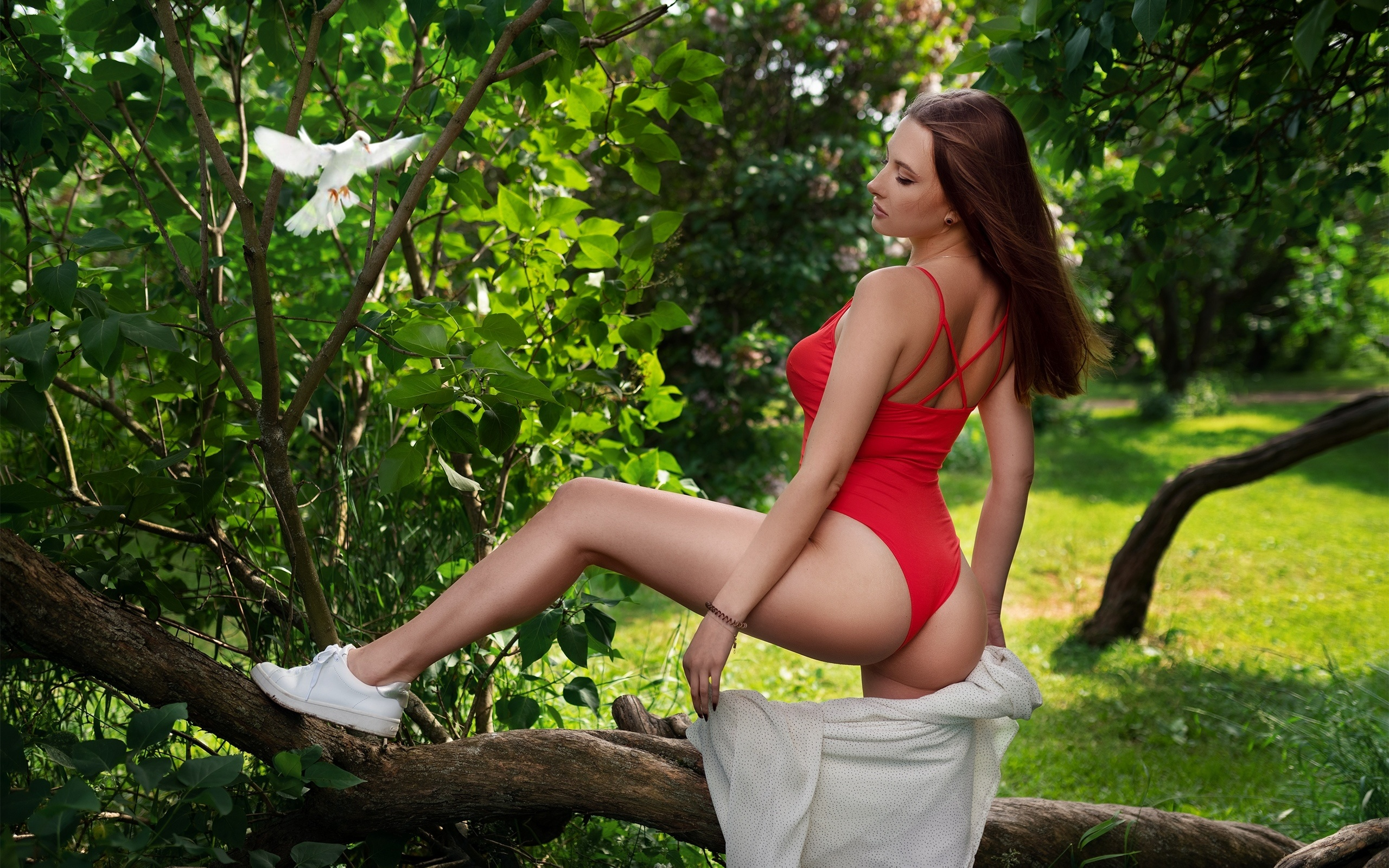 women, ass, trees, sneakers, women outdoors, grass, one-piece swimsuit, brunette, eyeliner, dove