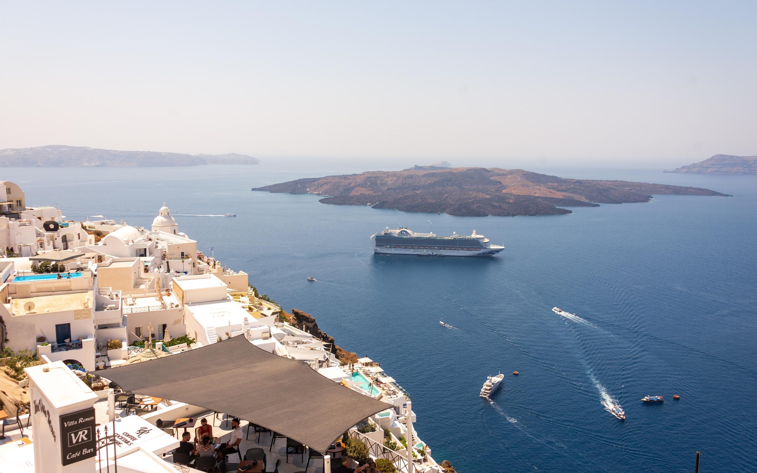 греция, остров, море, круизный лайнер, santorini, aegean sea, сверху, природа
