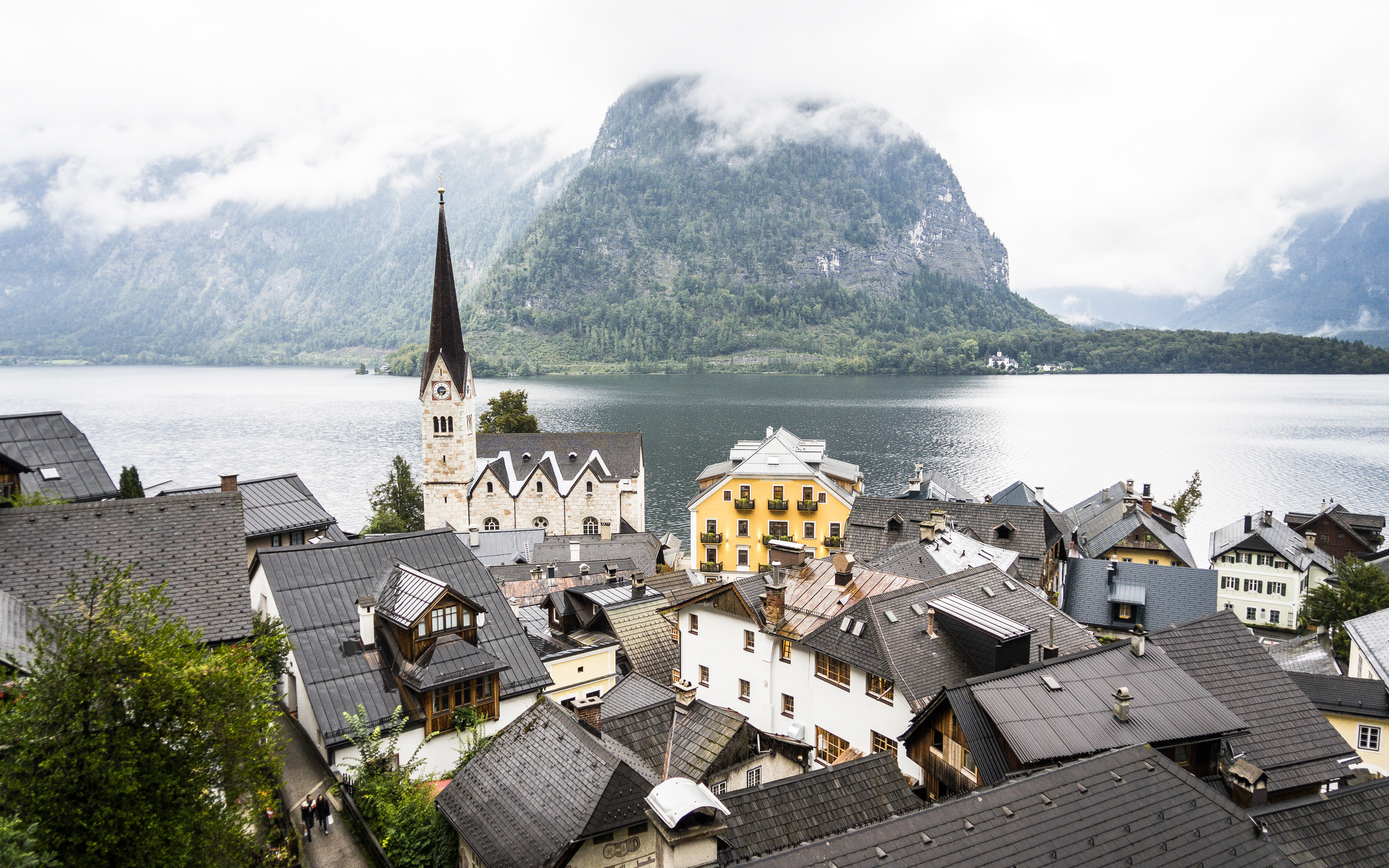 австрия, озеро, горы, туман, церковь, халльштатт