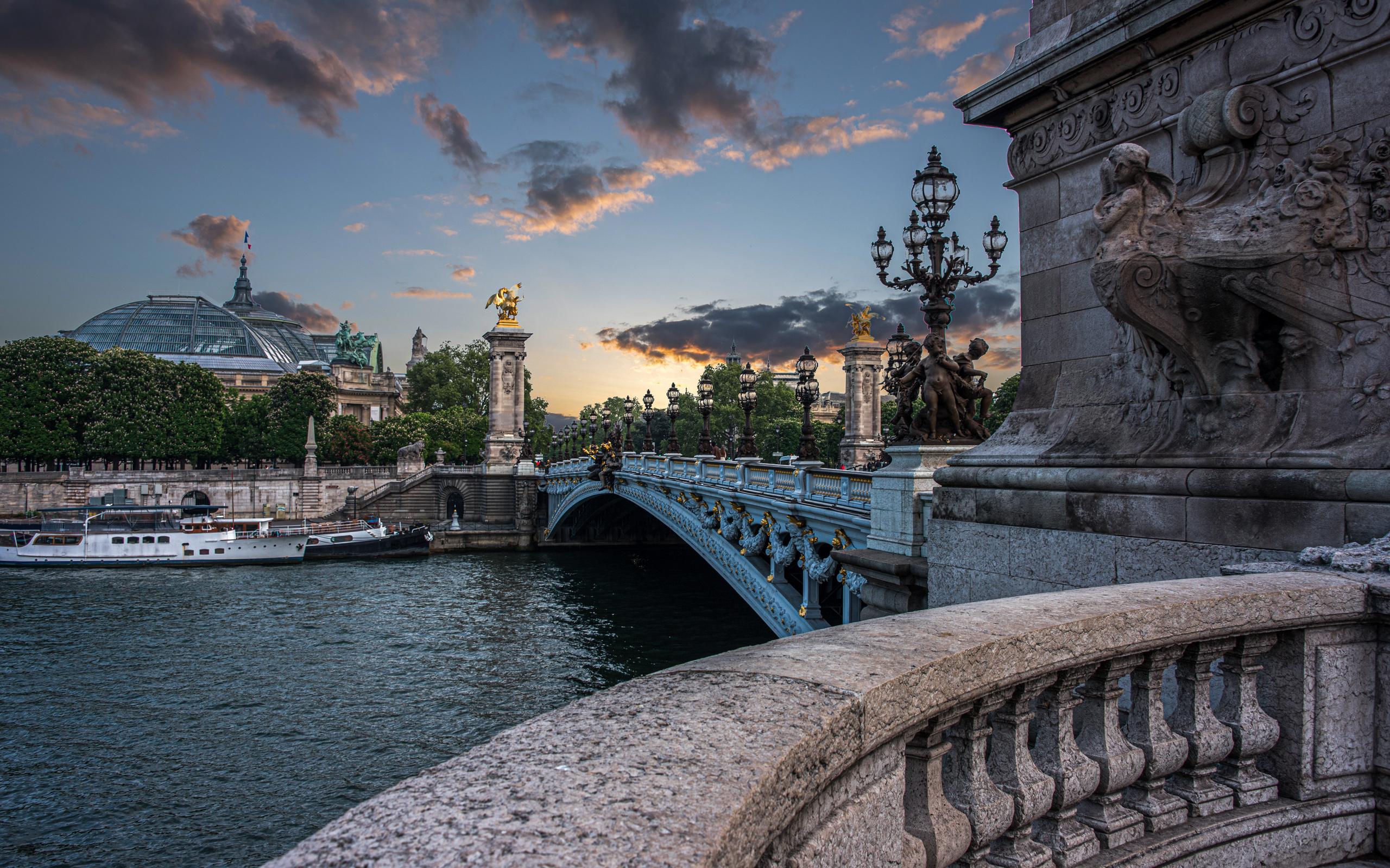 город, река, франция, париж, дома, фонари, сена, колонны, мост александра iii
