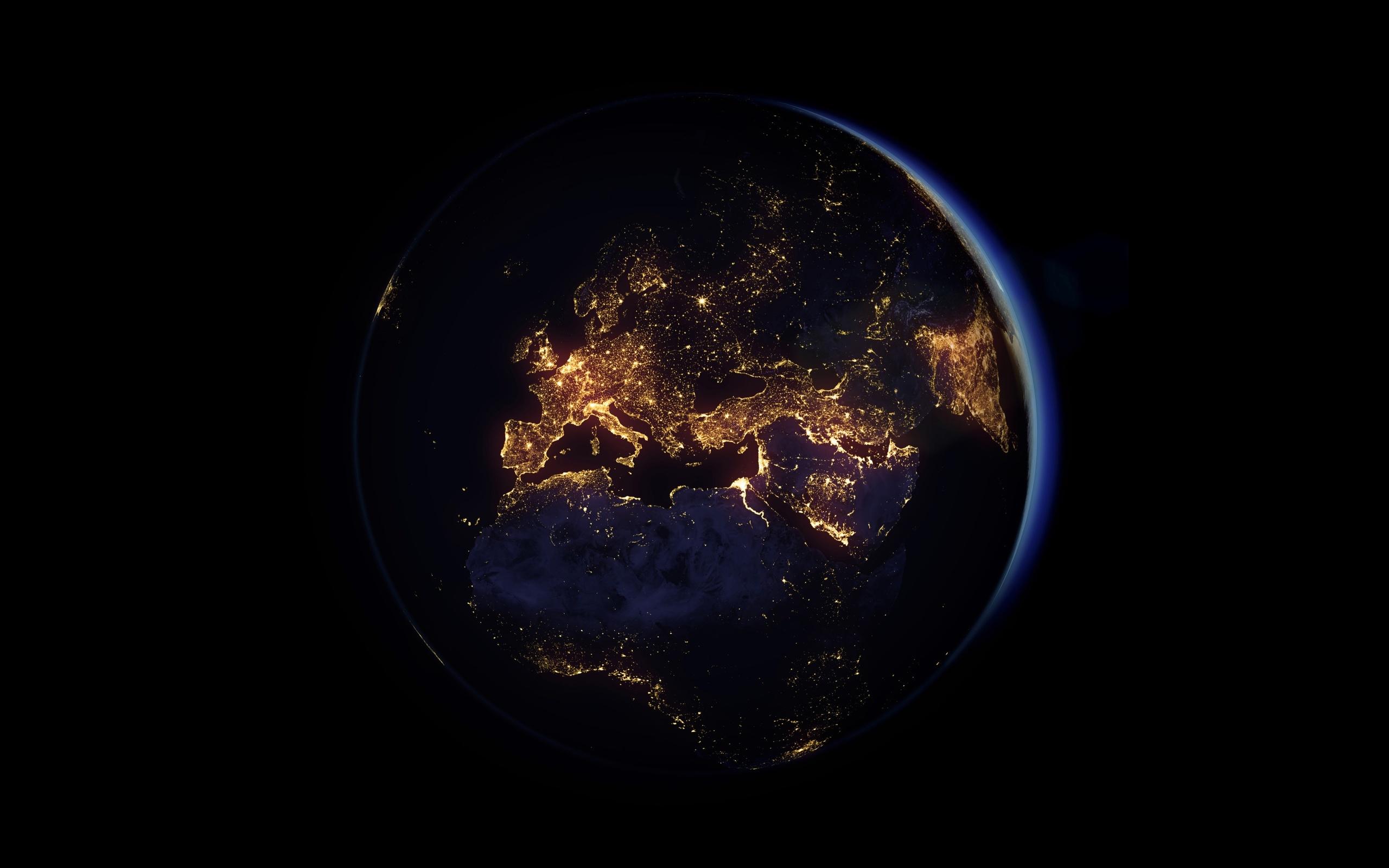 земля, ночные огни, северная европа