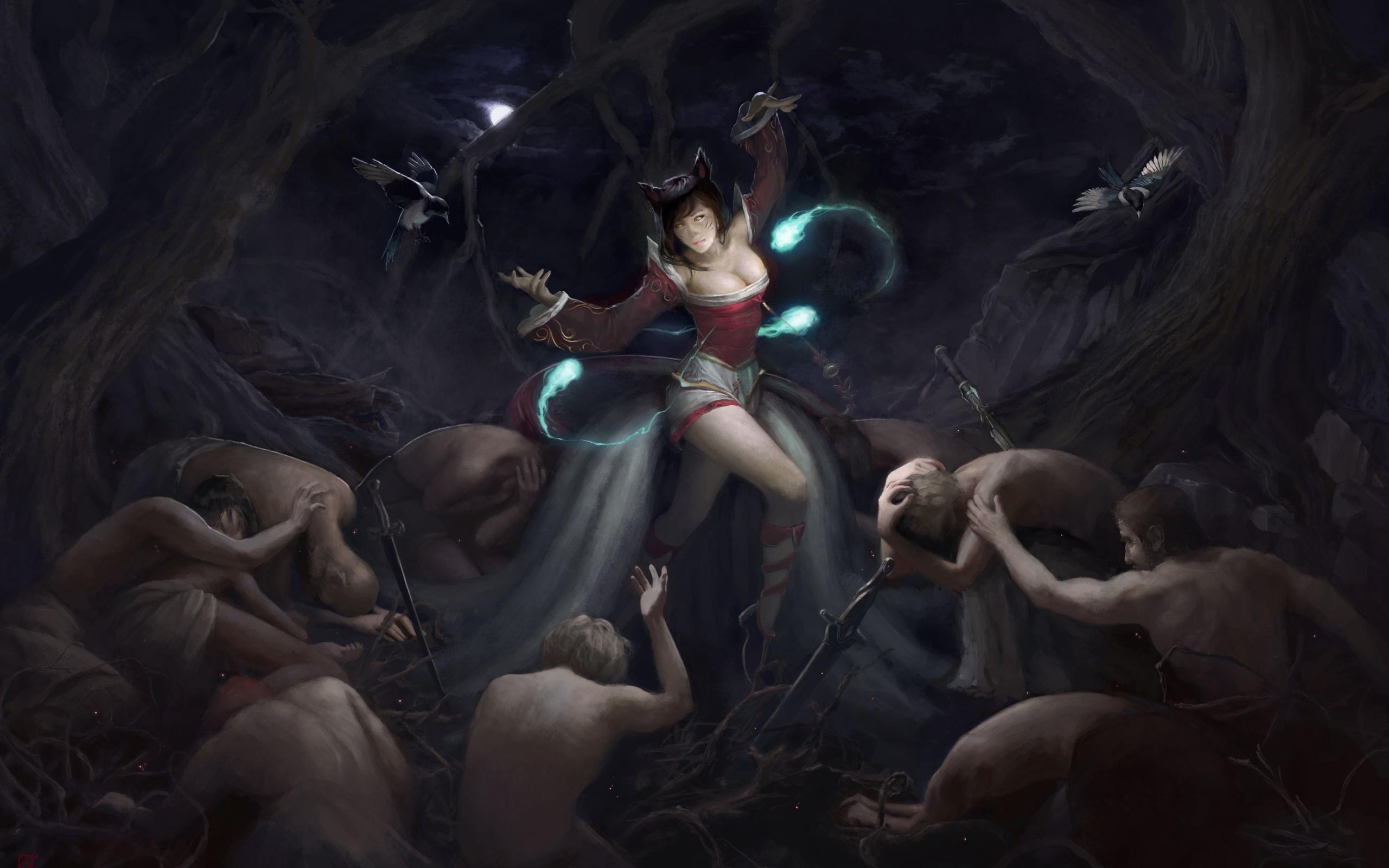 аниме, лига легенд, воин, демон, ари