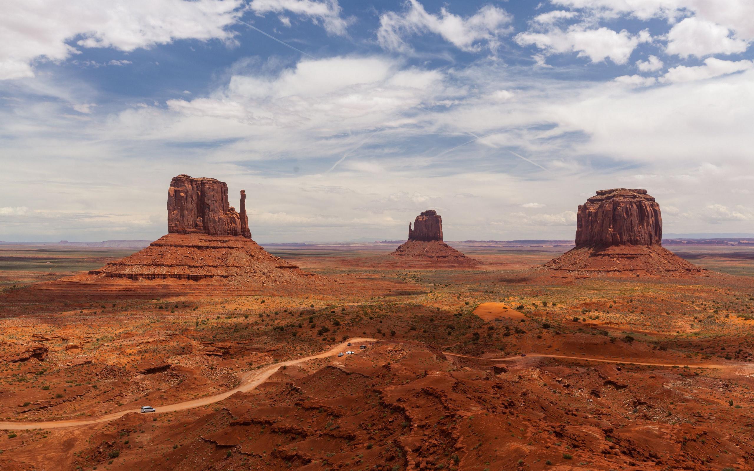 пустыня, дорога, скала