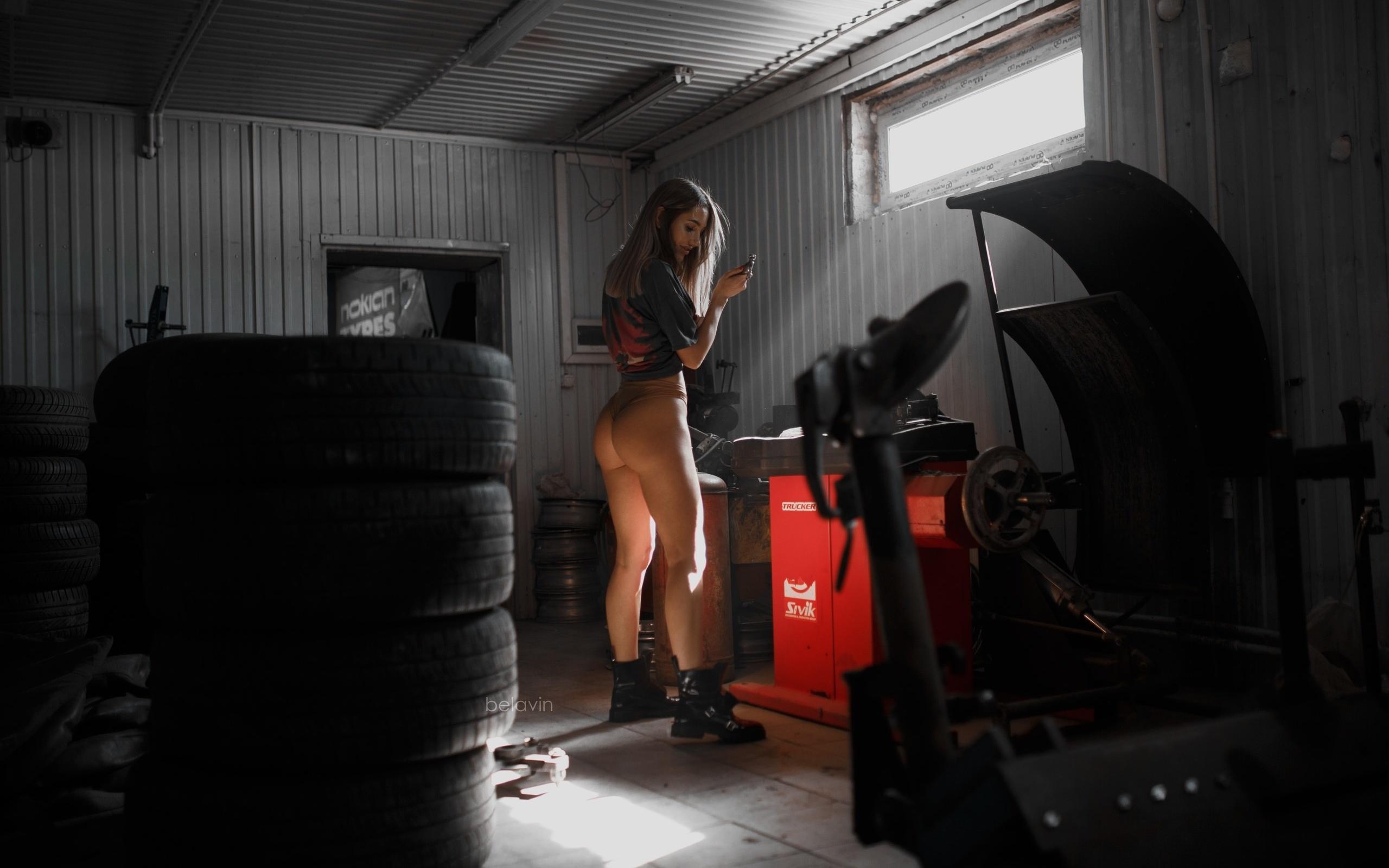 women, alexander belavin, tires, ass, shoes, women indoors, workshop, brunette, t-shirt, panties