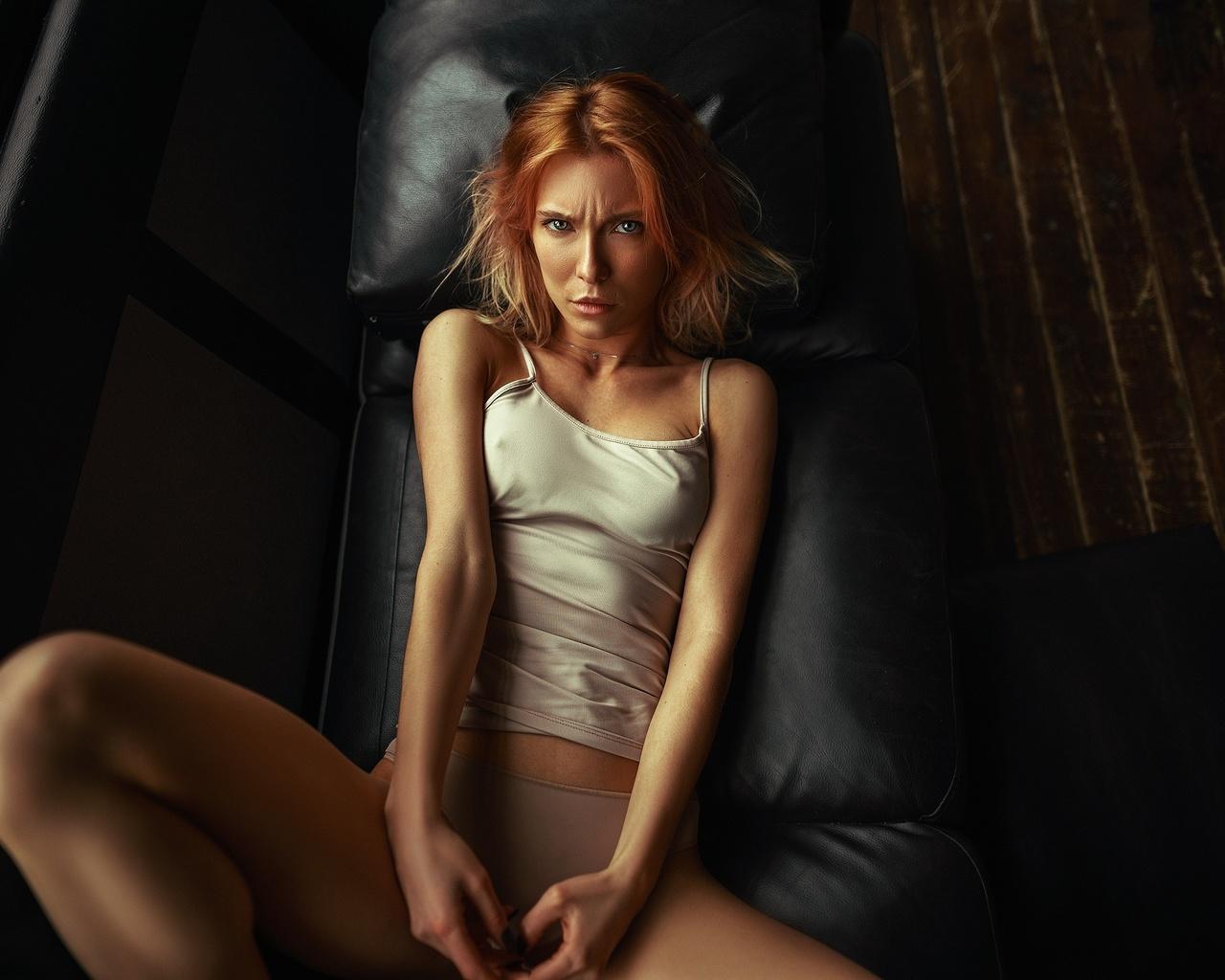 women, couch, panties, nipples through clothing, wooden floor, top view, women indoors, tank top