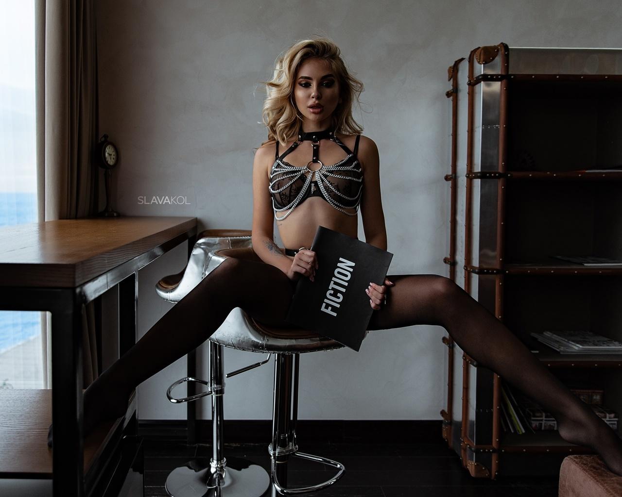 women, slava kol, blonde, brunette, sitting, black lingerie, strategic covering, women indoors, tattoo, see-through bra, wooden floor, books